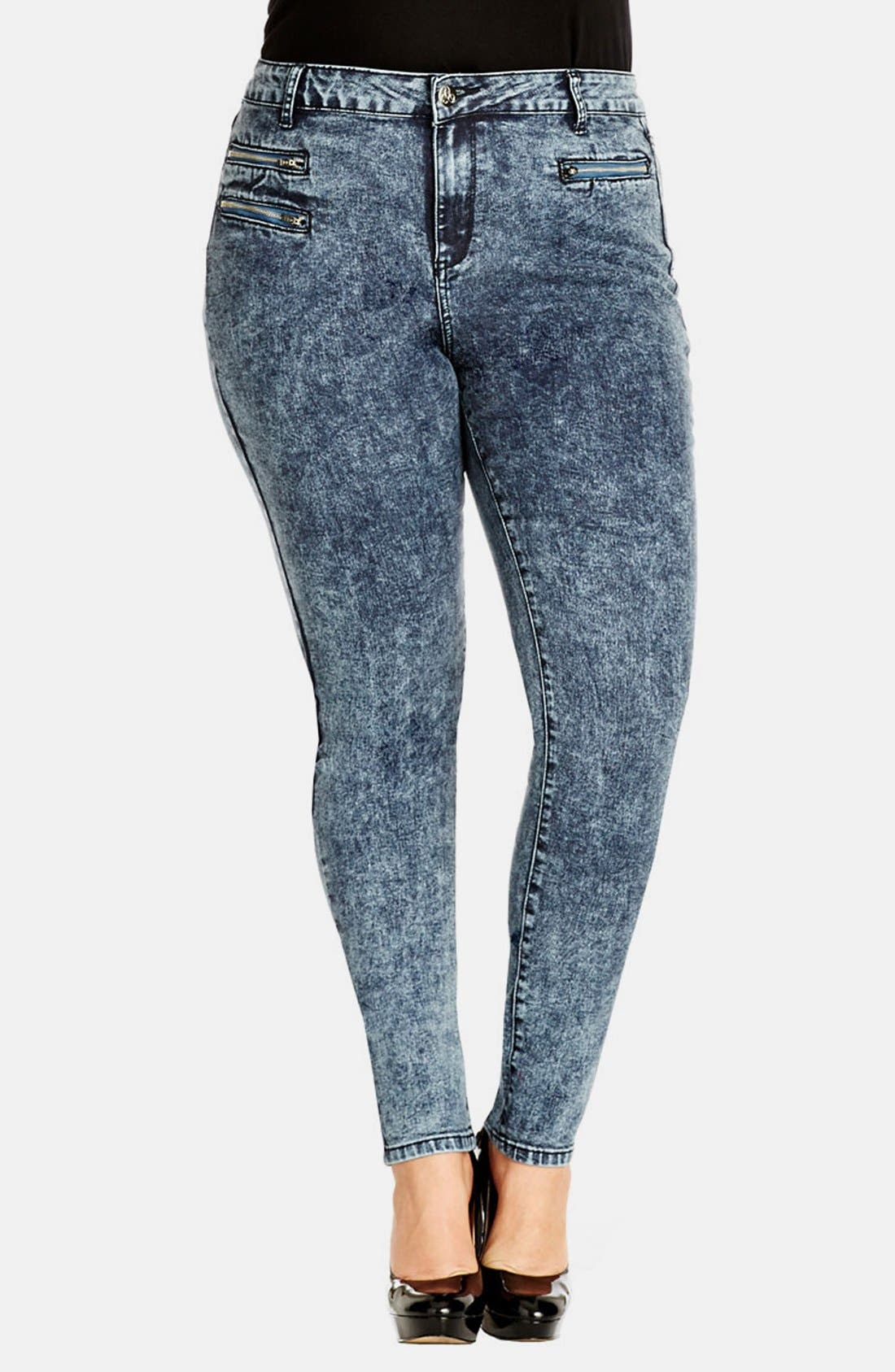 Alternate Image 1 Selected - City Chic Zip Detail Acid Wash Skinny Jeans (Medium) (Plus Size)