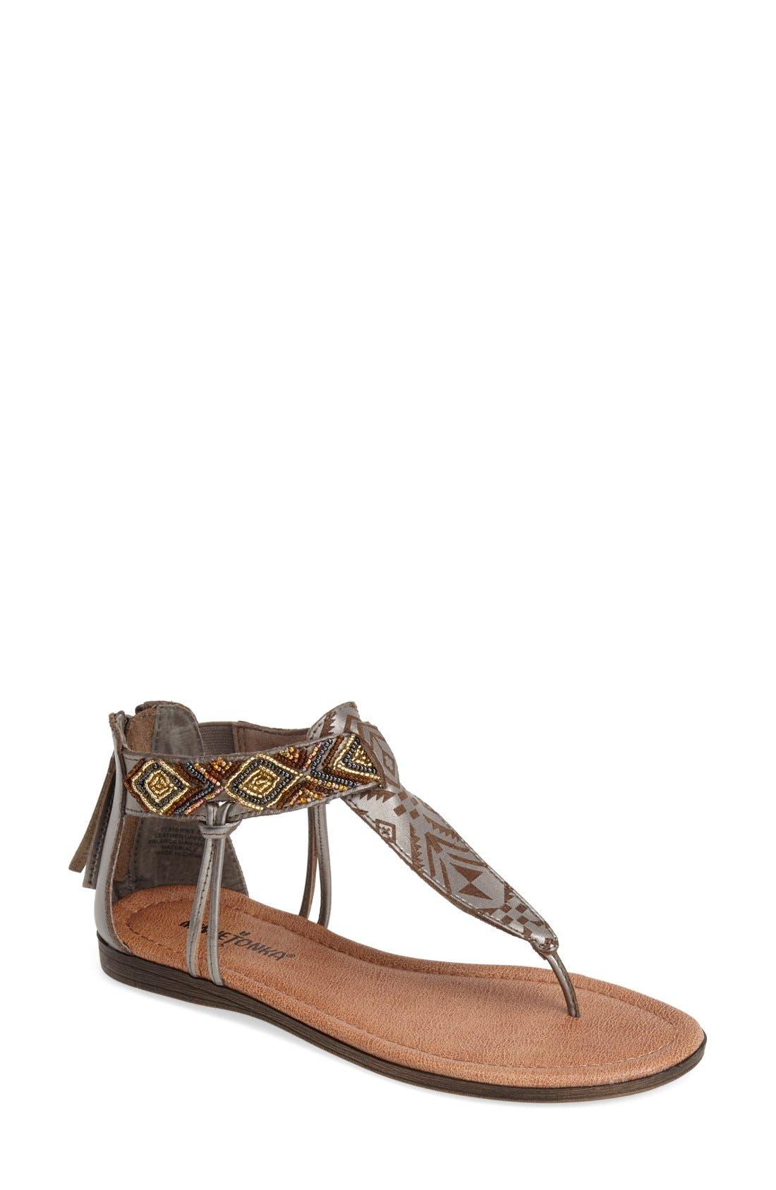 Main Image - Minnetonka 'Antigua' Beaded Thong Sandal (Women)