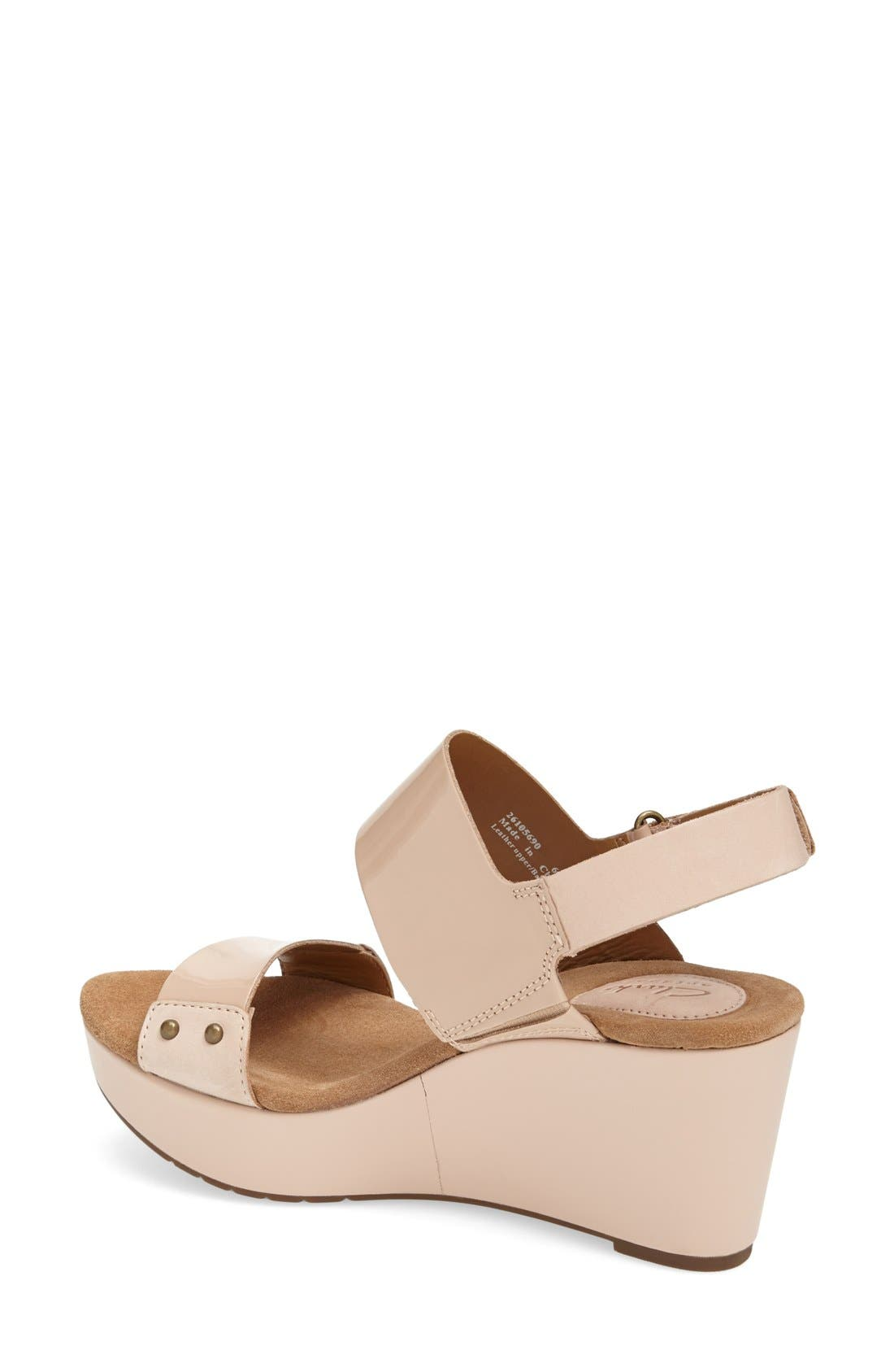 Alternate Image 2  - Clarks® 'Caslynn Dez' Patent Leather Platform Sandal (Women)