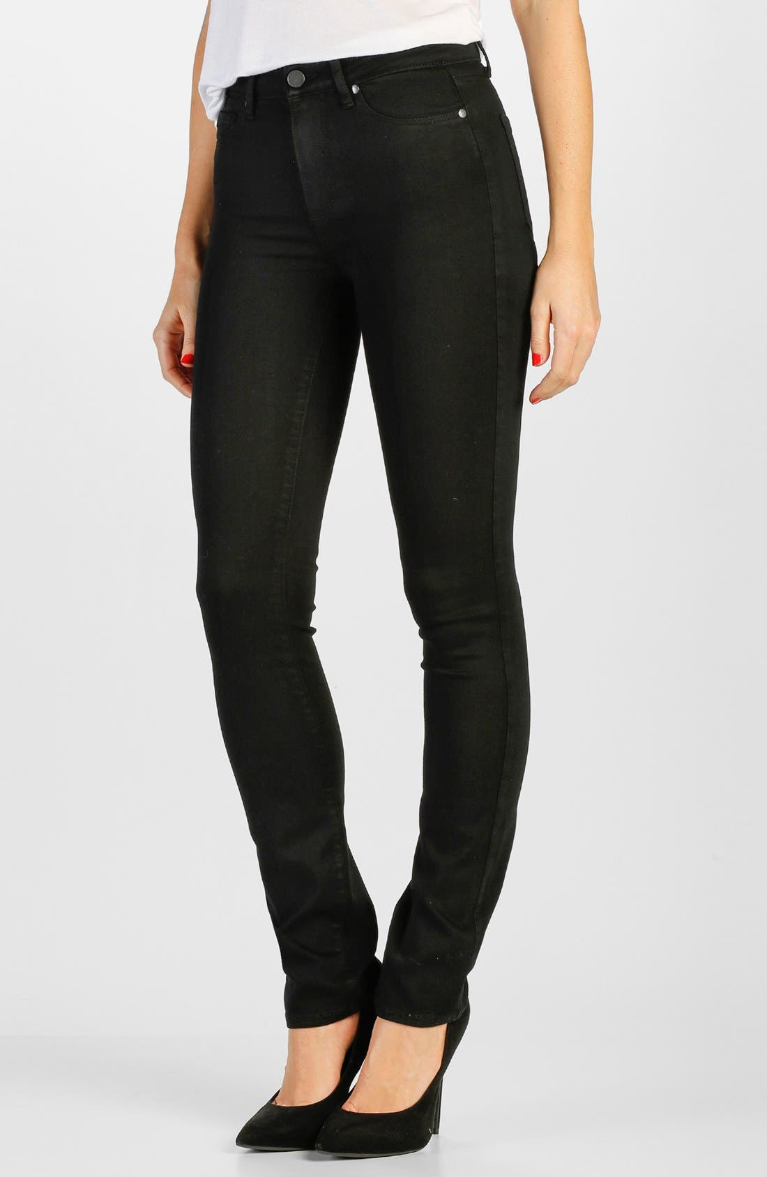 PAIGE Transcend - Hoxton High Waist Straight Leg Jeans (Black Shadow)