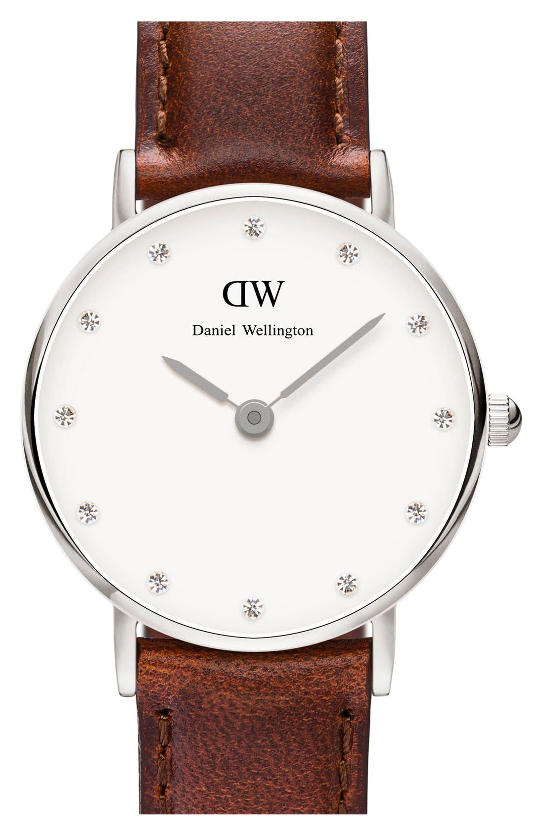 Main Image - Daniel Wellington 'Classy St. Mawes' Crystal Index Leather Strap Watch, 26mm