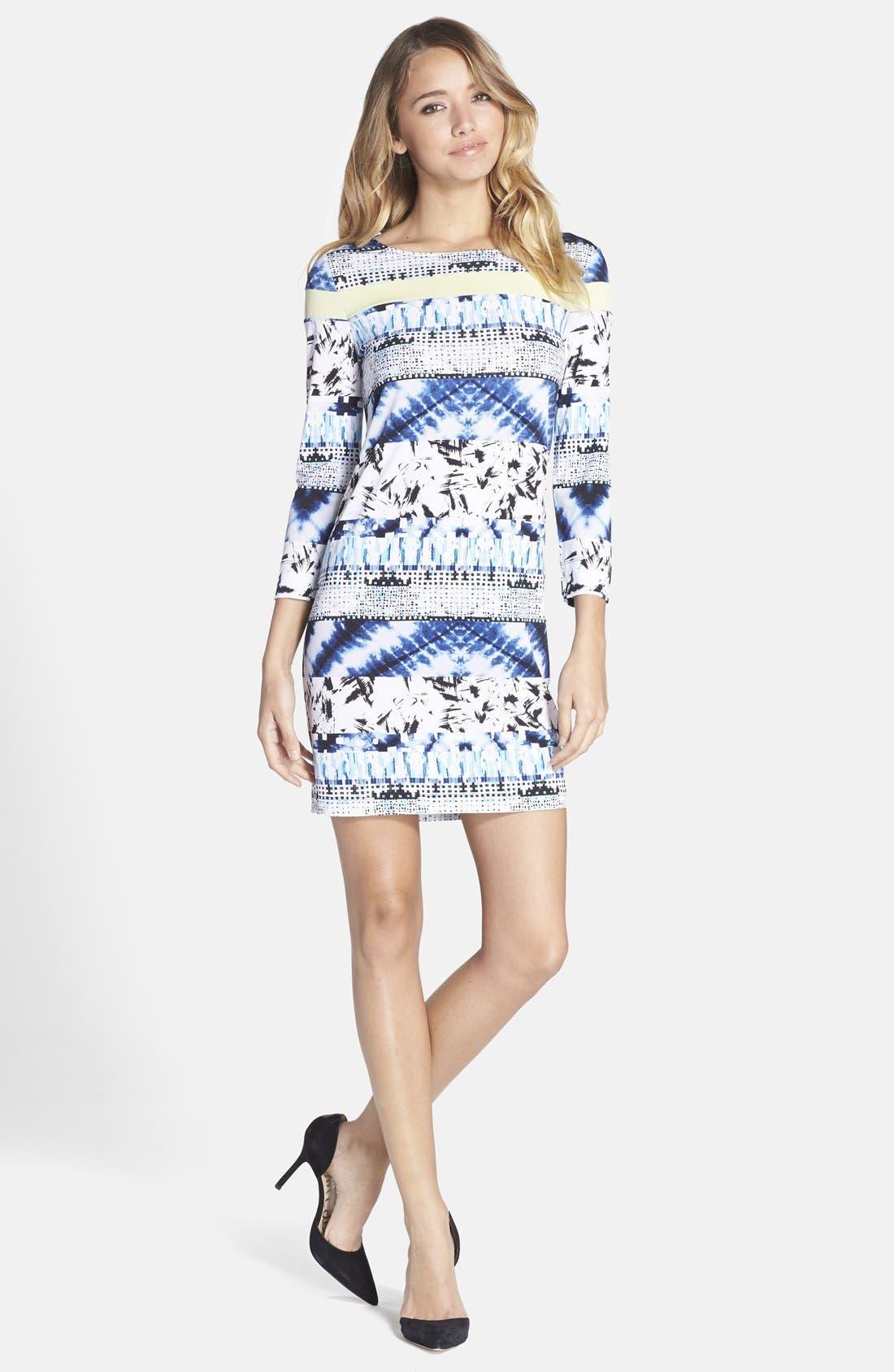 Main Image - BCBGMAXAZRIA Mixed Print Jersey Shift Dress