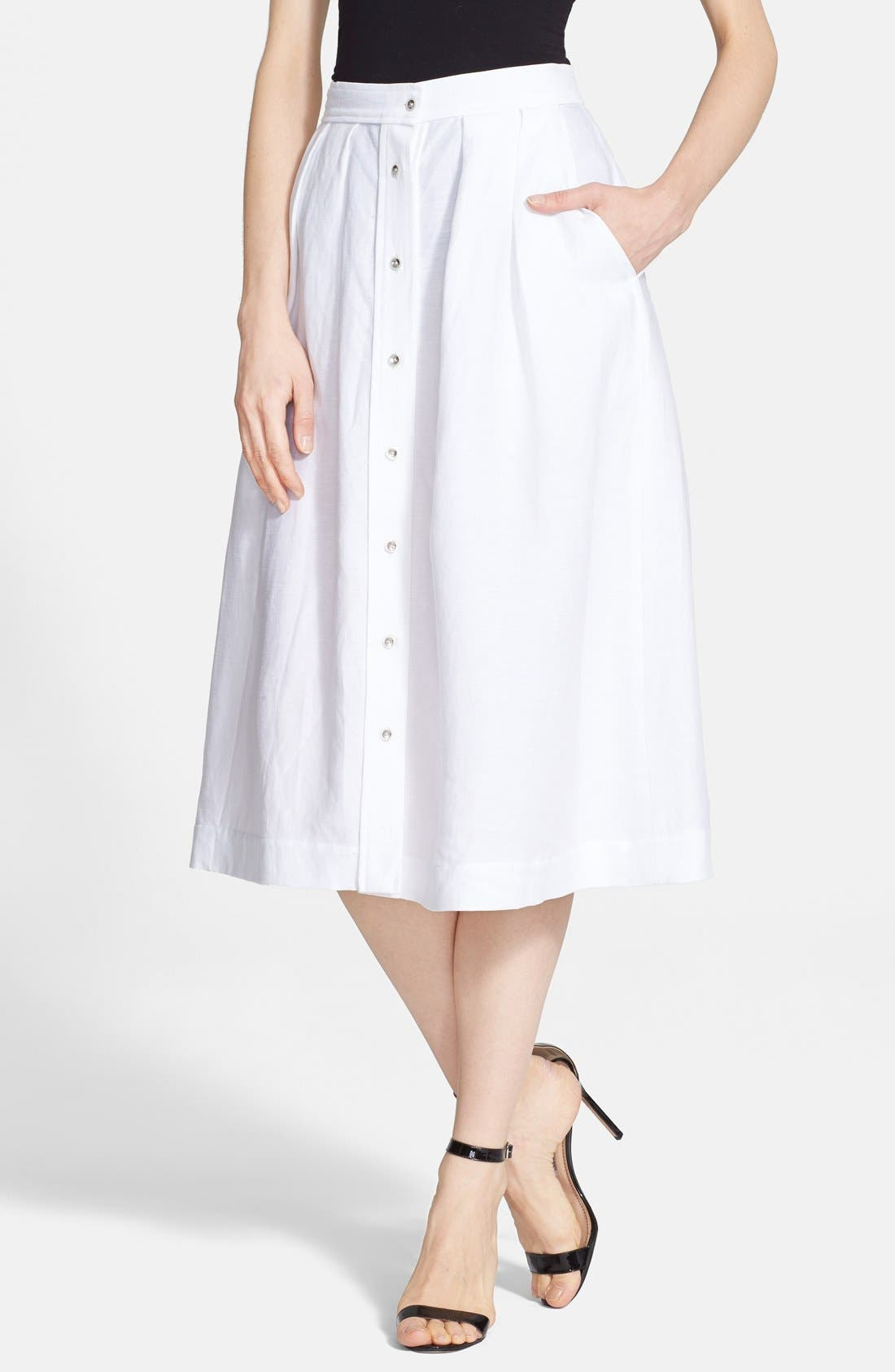 Main Image - Milly Button Front Linen Midi Skirt