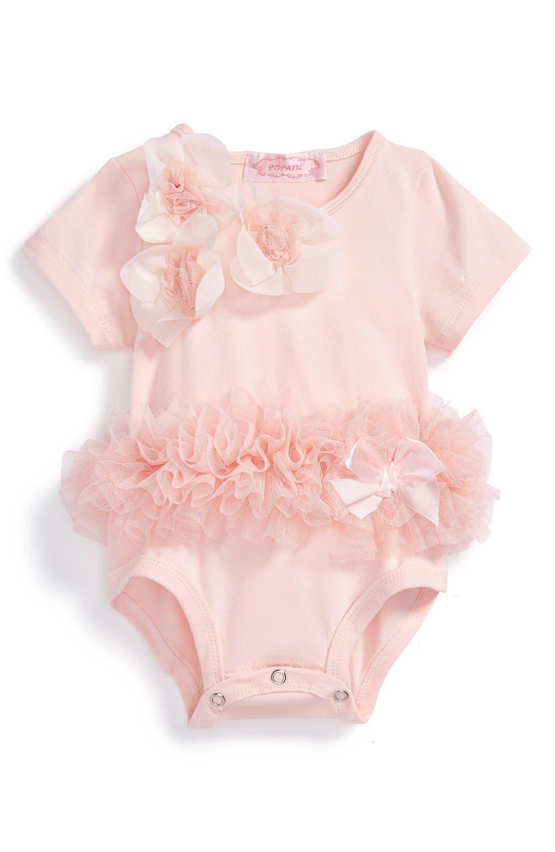 Main Image - Popatu Floral Tutu Bodysuit (Baby Girls)