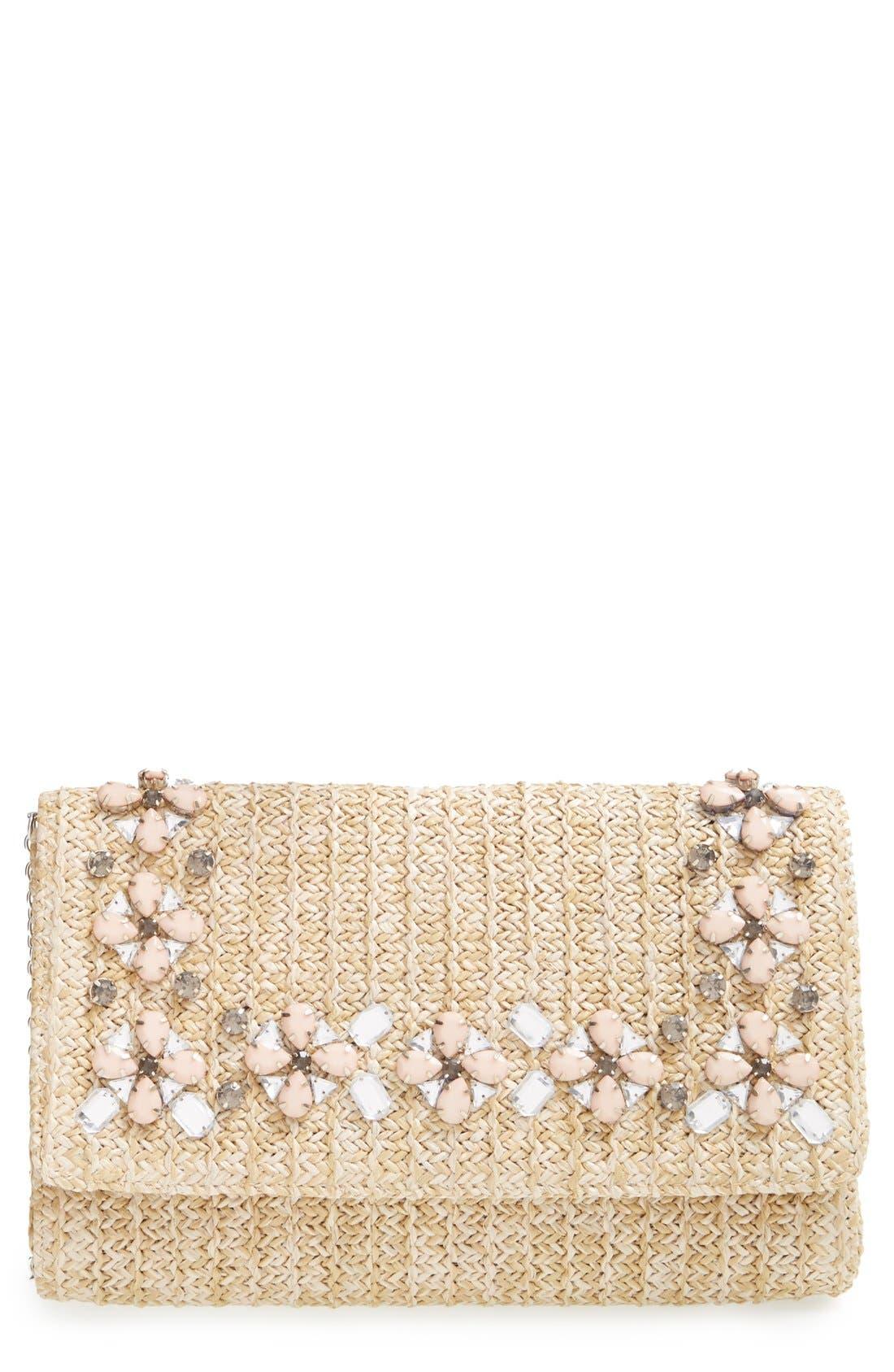 Main Image - Glint Embellished Straw Clutch