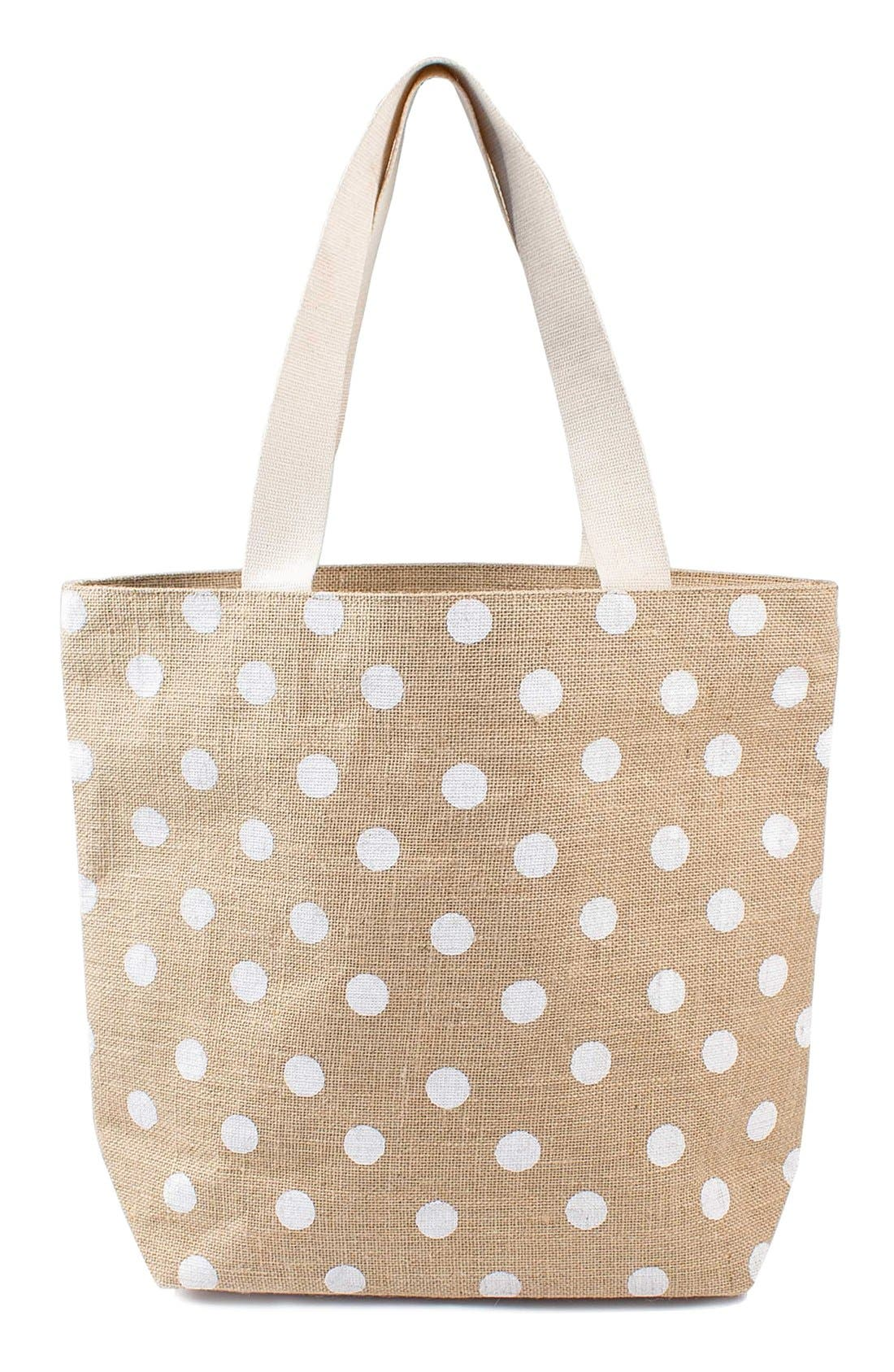 Cathy's Concepts Monogram Polka Dot Jute Tote