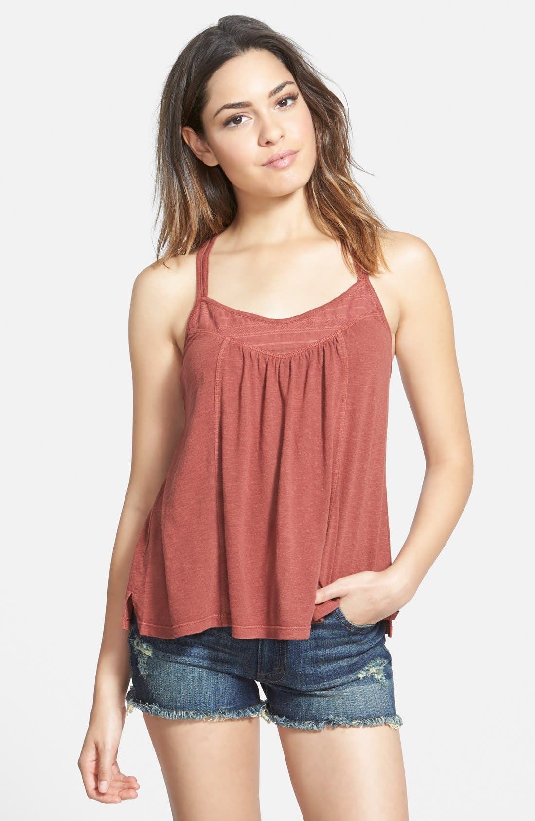 Main Image - Sun & Shadow Embroidered Crop Camisole (Juniors)