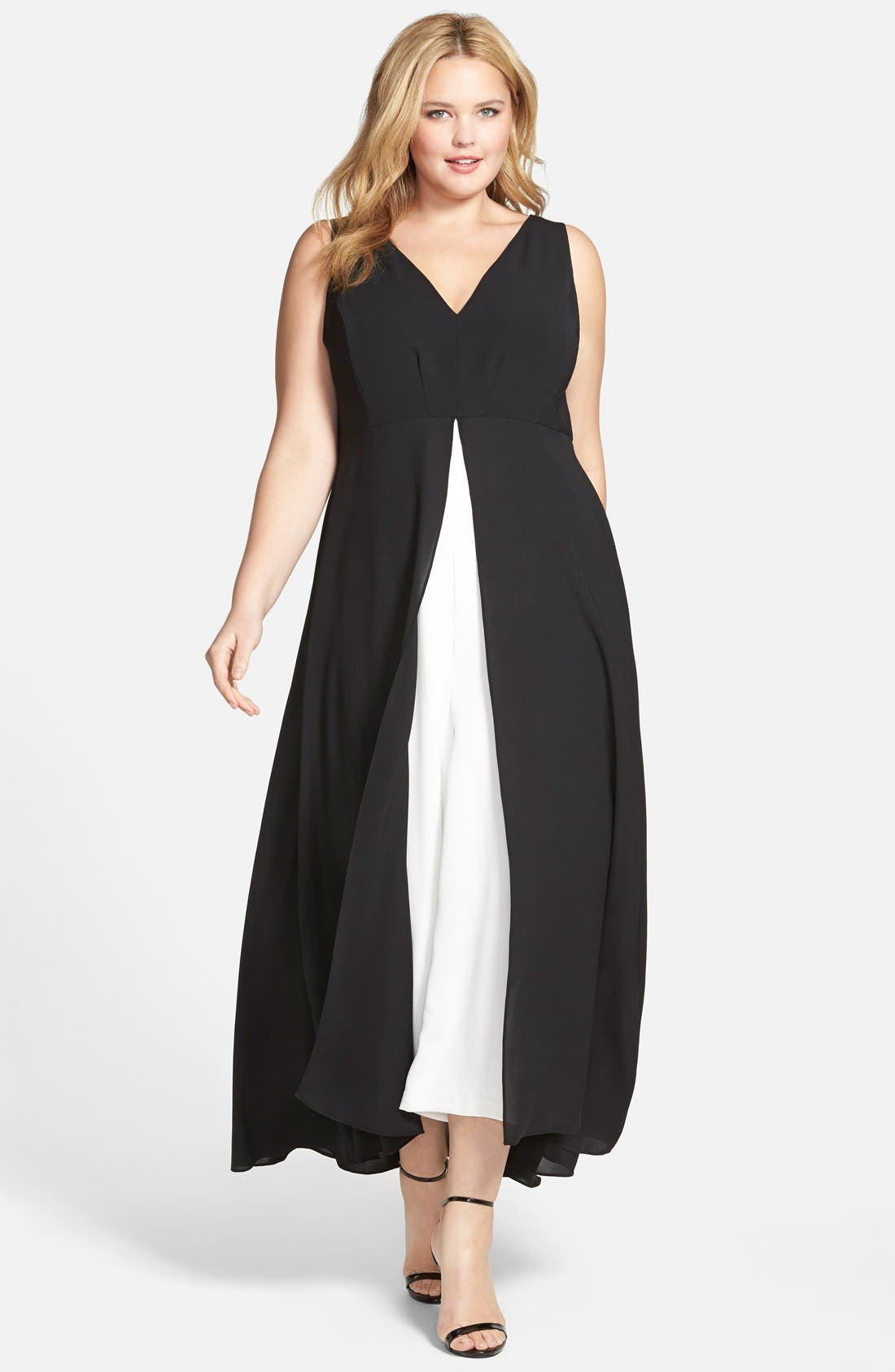 Adrianna Papell Colorblock V-Neck Jumpsuit (Plus Size)