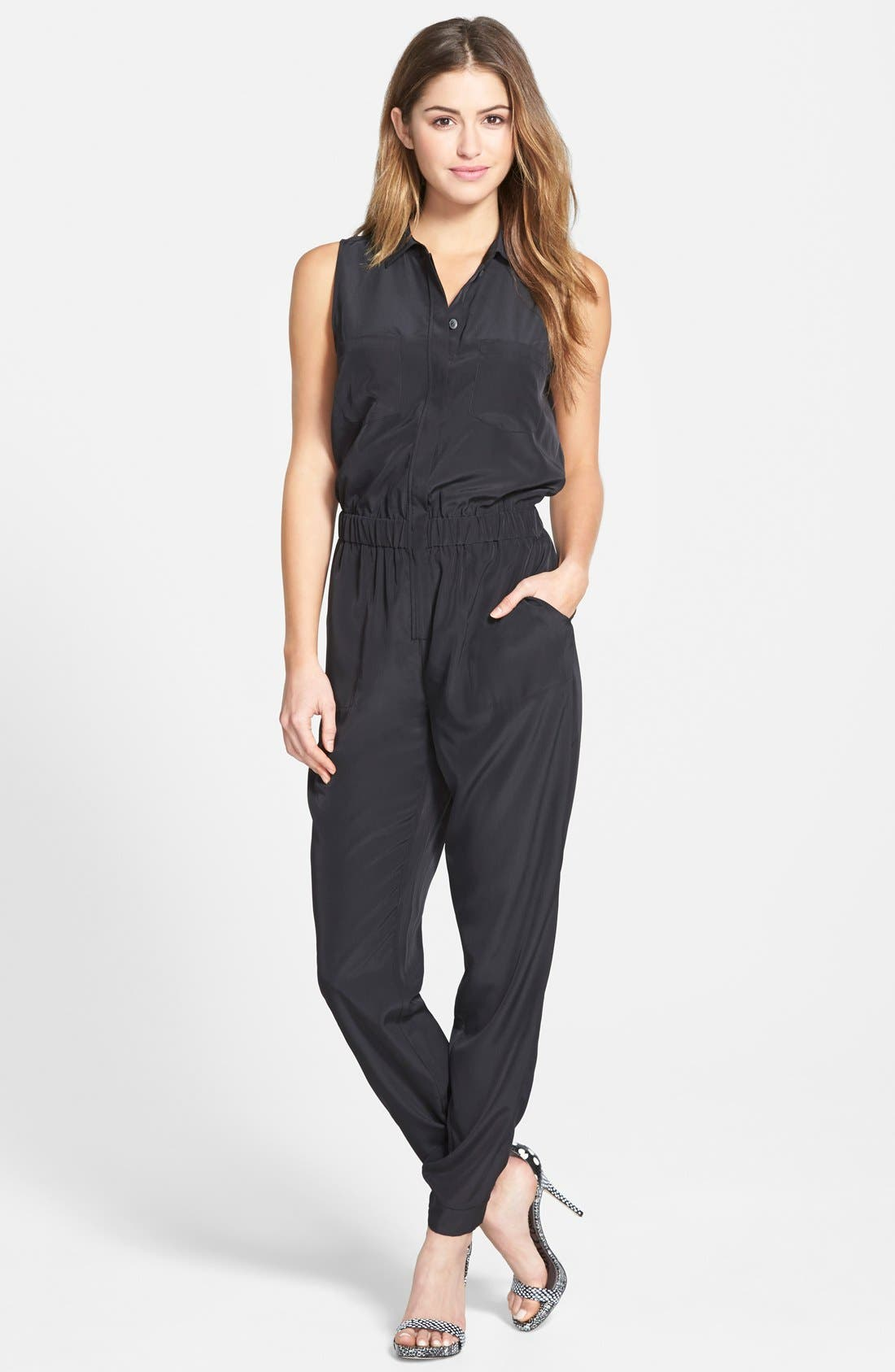 Alternate Image 1 Selected - Halogen® Four-Pocket Sleeveless Jumpsuit (Regular & Petite)