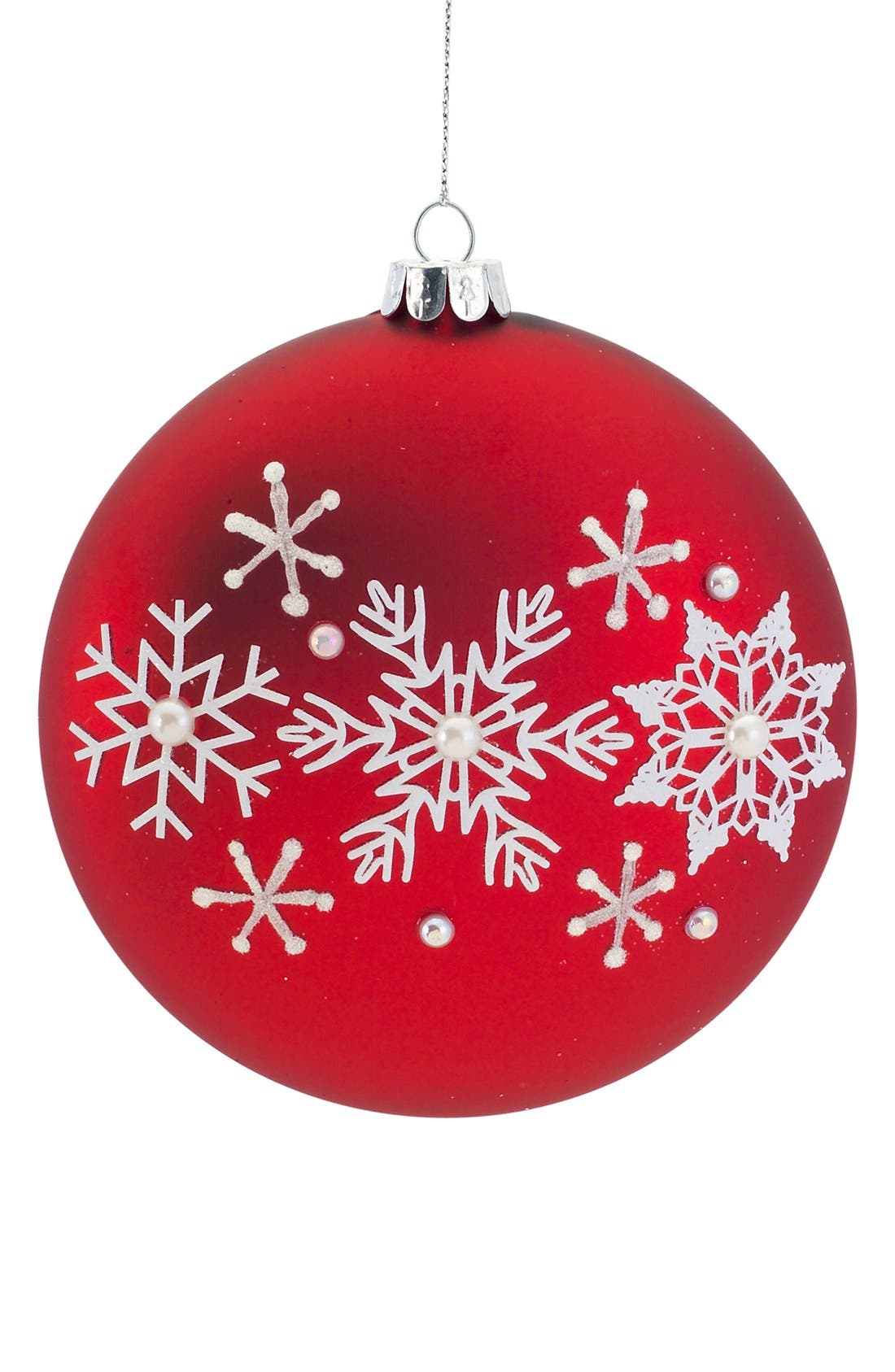 Alternate Image 2  - Melrose Gifts Beaded Snowflake Round Ornament
