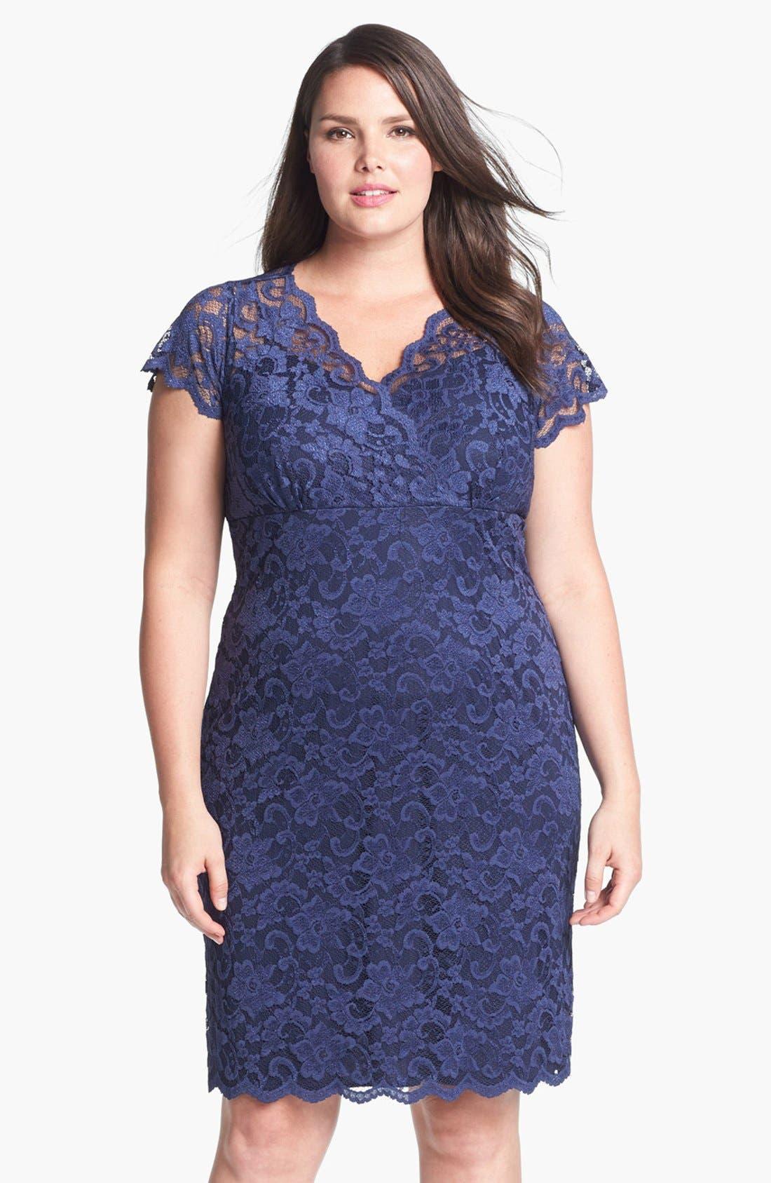 Alternate Image 1 Selected - MARINA Lace Sheath Dress (Plus Size)
