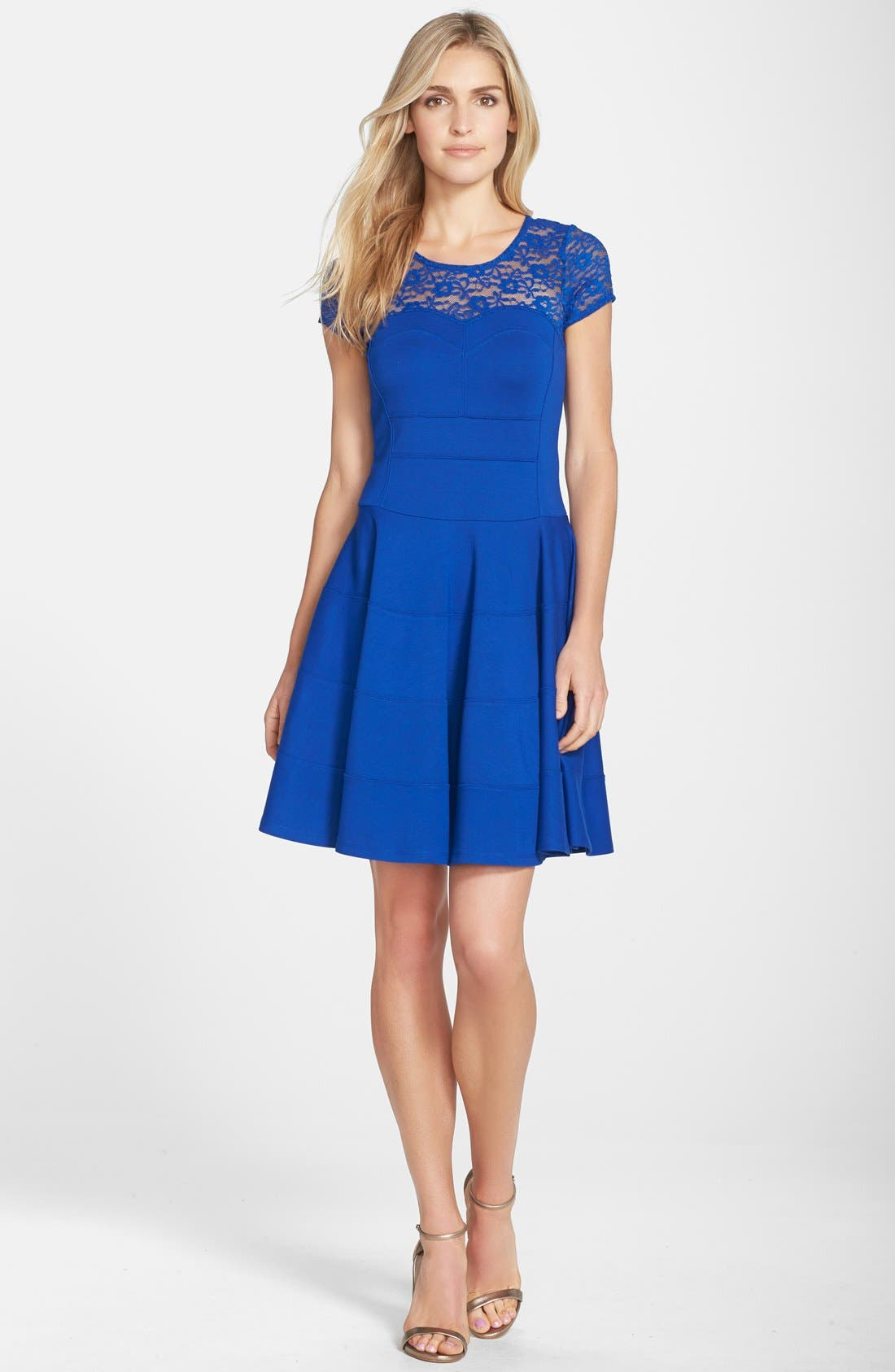 Main Image - Felicity & Coco Lace Yoke Fit & Flare Ponte Dress (Nordstrom Exclusive)