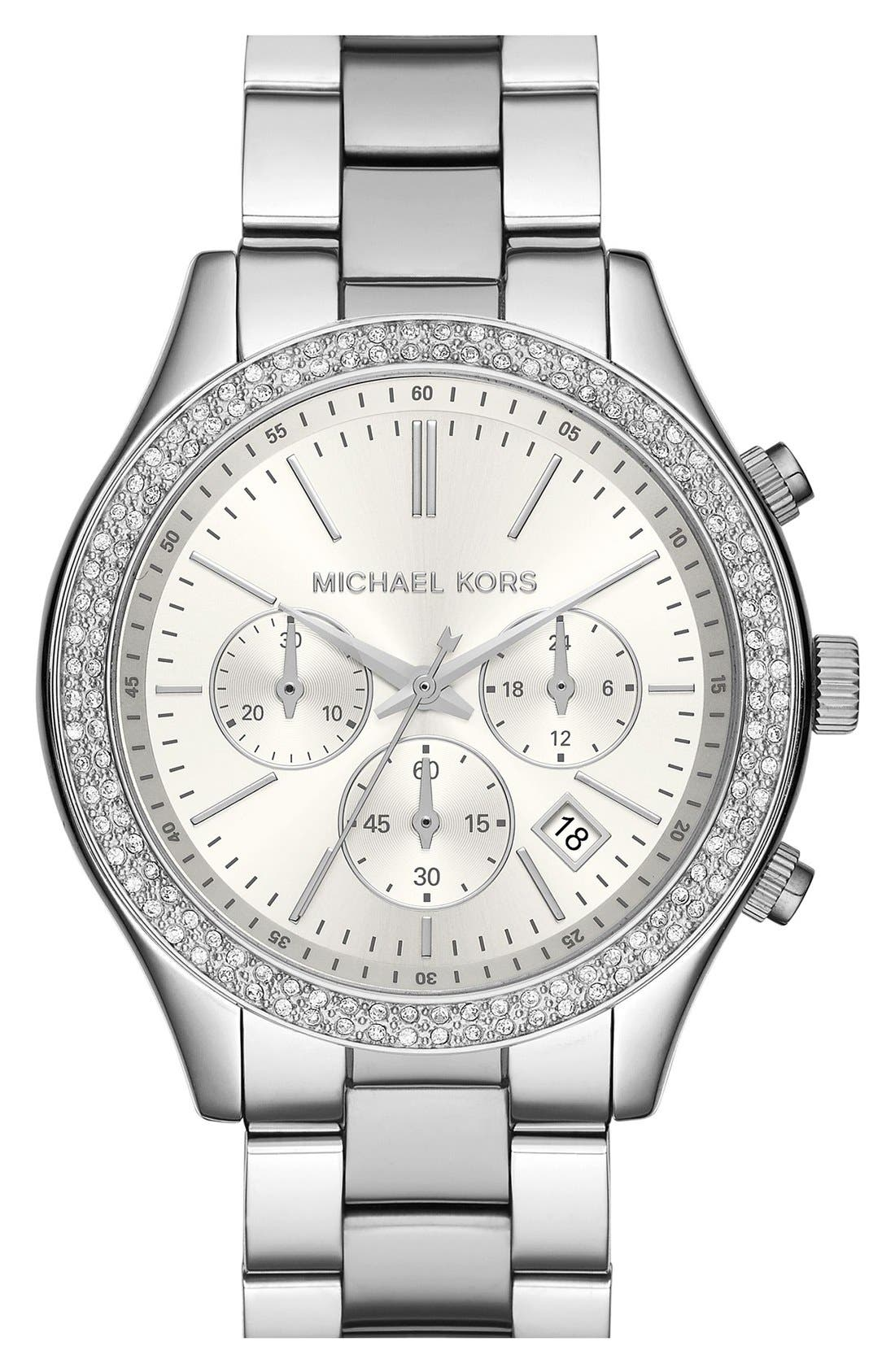 Main Image - Michael Kors 'Slim Runway' Crystal Bezel Chronograph Bracelet Watch, 42mm (Nordstrom Exclusive)