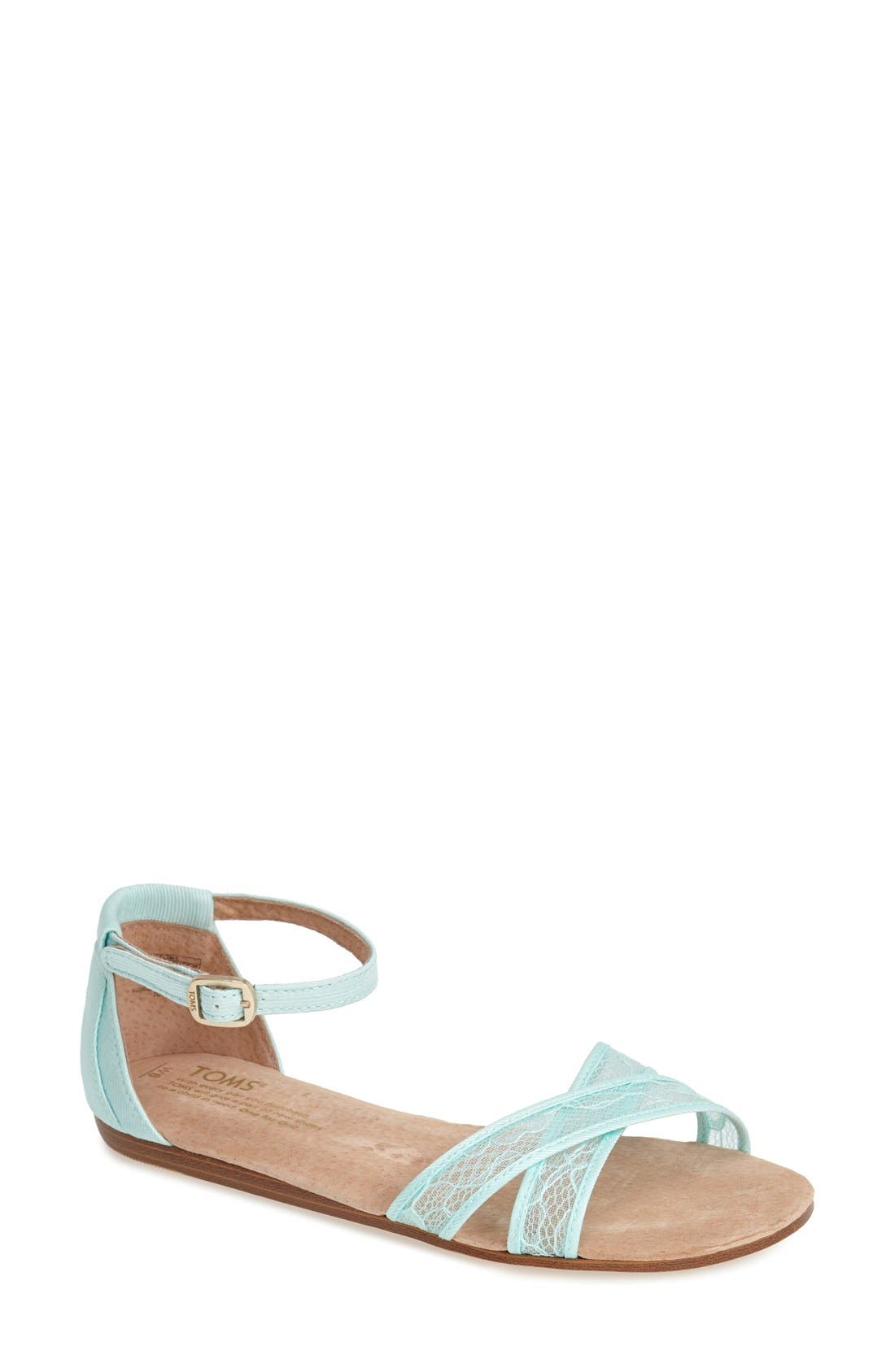Alternate Image 1 Selected - TOMS 'Correa' Lace & Grosgrain Ribbon Ankle Strap Wedding Sandal (Women)