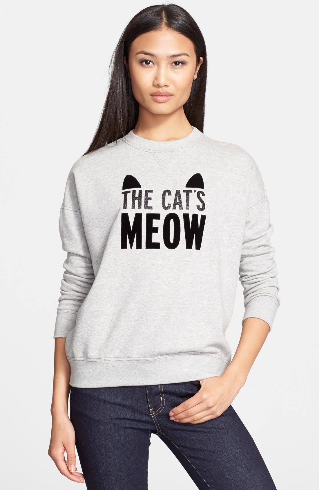 Alternate Image 1 Selected - kate spade new york 'the cat's meow' crewneck sweatshirt