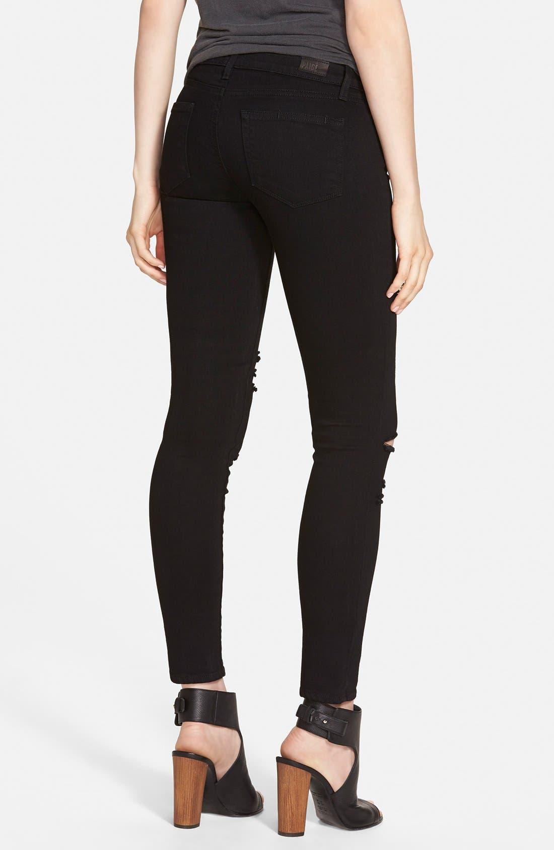 Alternate Image 2  - Paige Denim 'Verdugo' Ankle Ultra Skinny Jeans (Black Arlo Destructed)