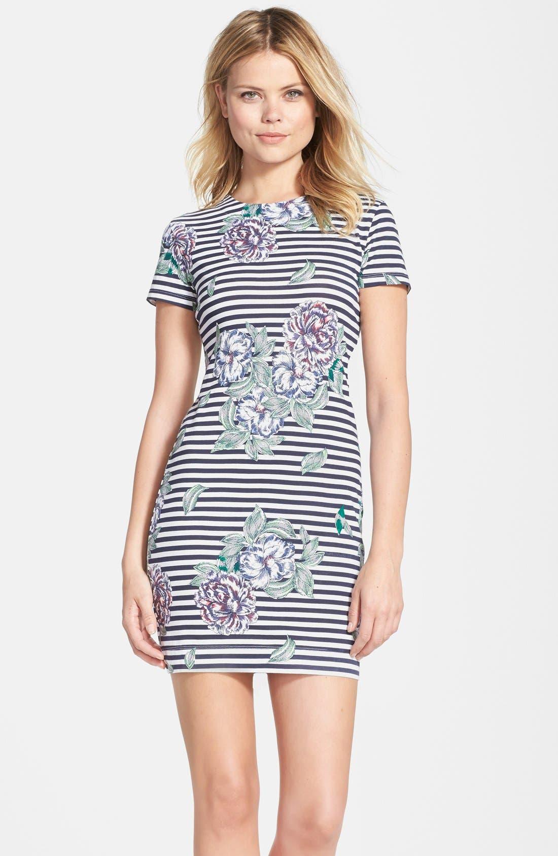 Main Image - French Connection 'Bonita' Stripe Floral Body-Con Dress