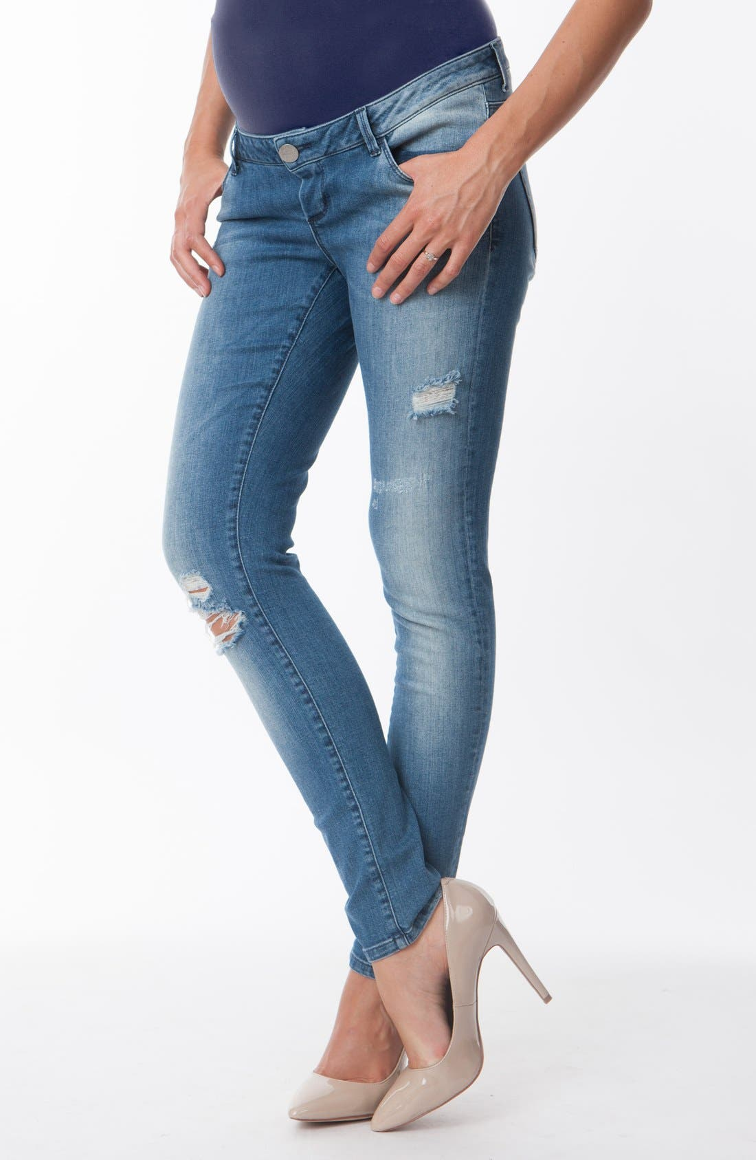 Alternate Image 1 Selected - Seraphine 'Gerie' Ripped Maternity Skinny Jeans