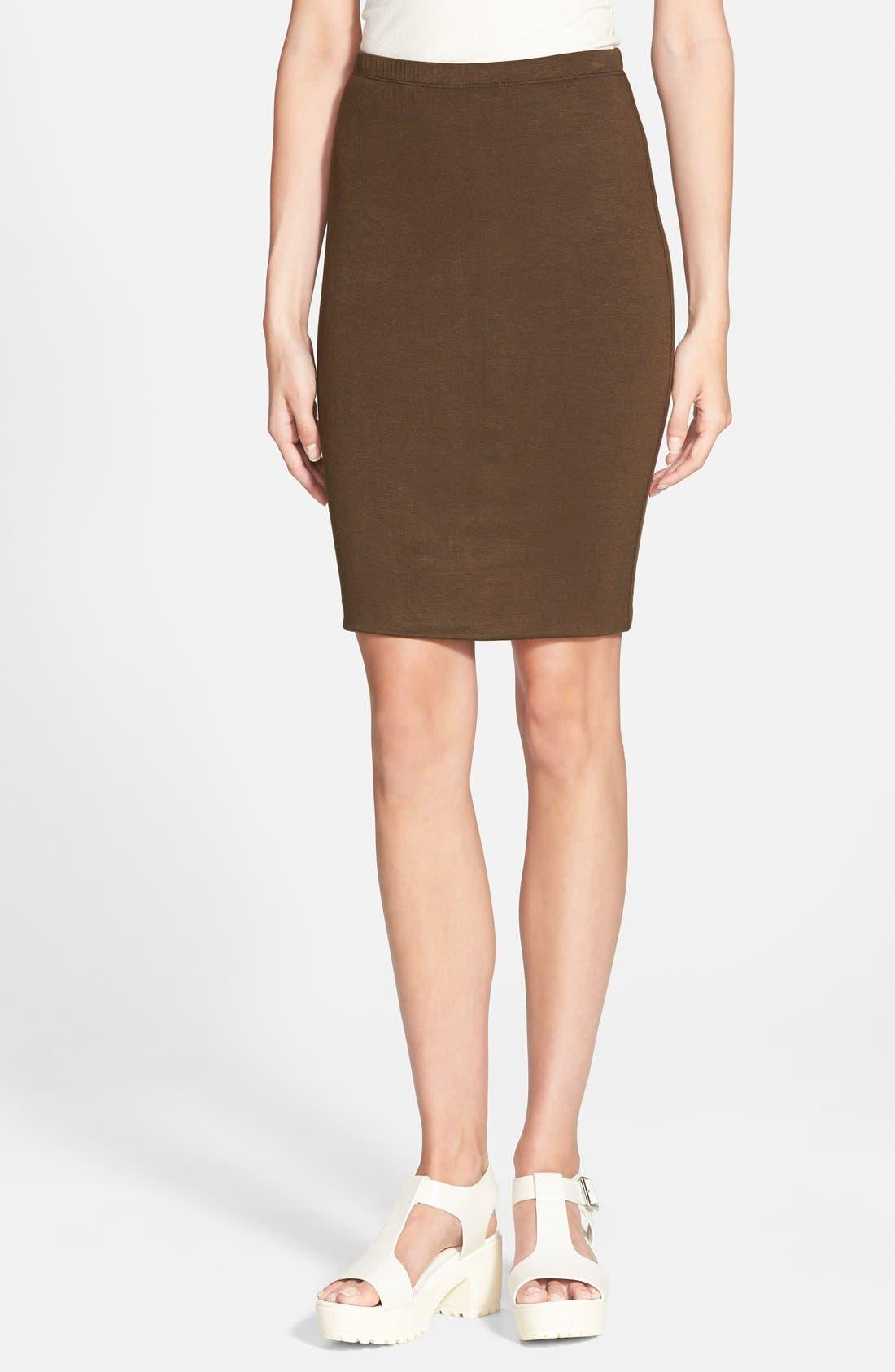 Main Image - Lily White Double Knit Midi Skirt (Juniors)