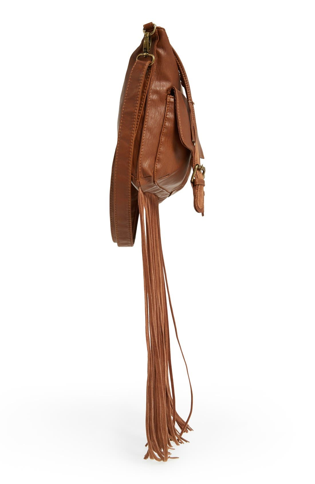 Alternate Image 5  - T-Shirt & Jeans Fringe Trim Crossbody Bag