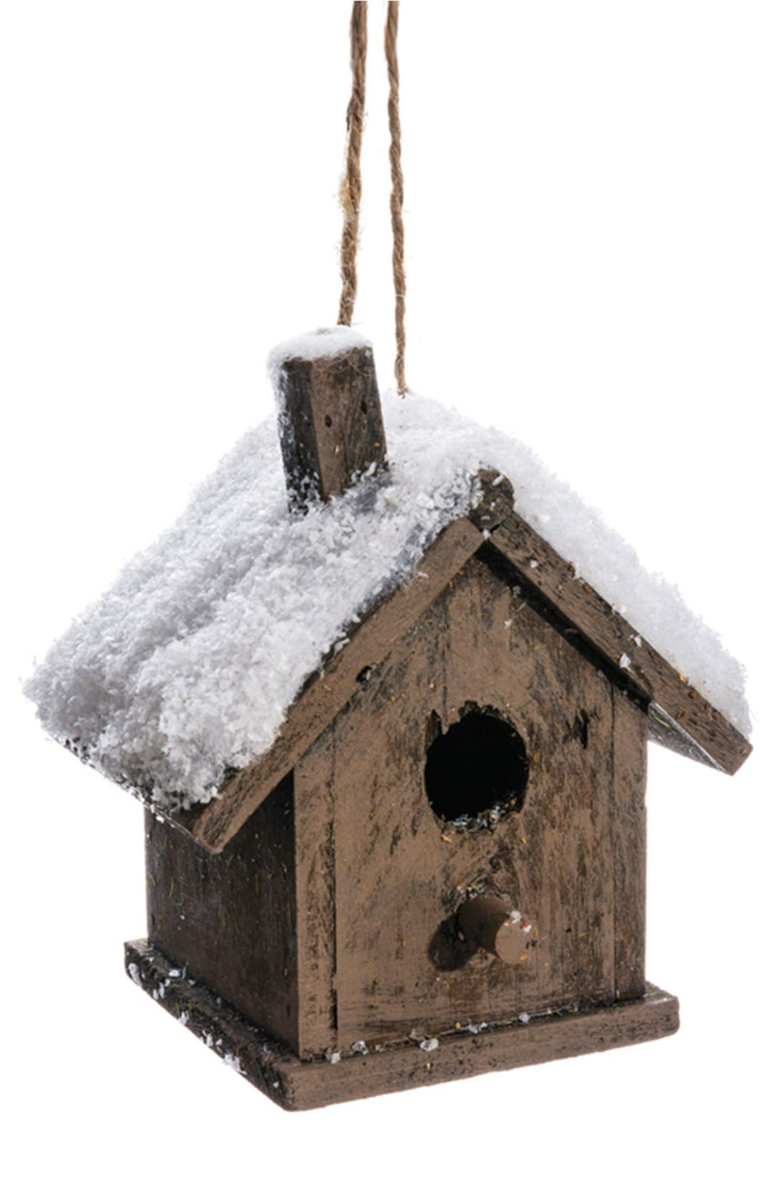 Alternate Image 1 Selected - ALLSTATE Snowy Wood Birdhouse Ornament