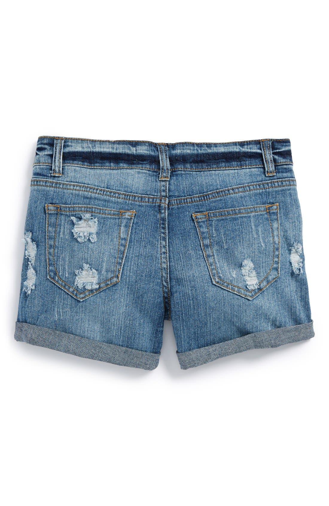 Alternate Image 2  - Vintage Havana Cuff Denim Boyfriend Shorts (Big Girls)