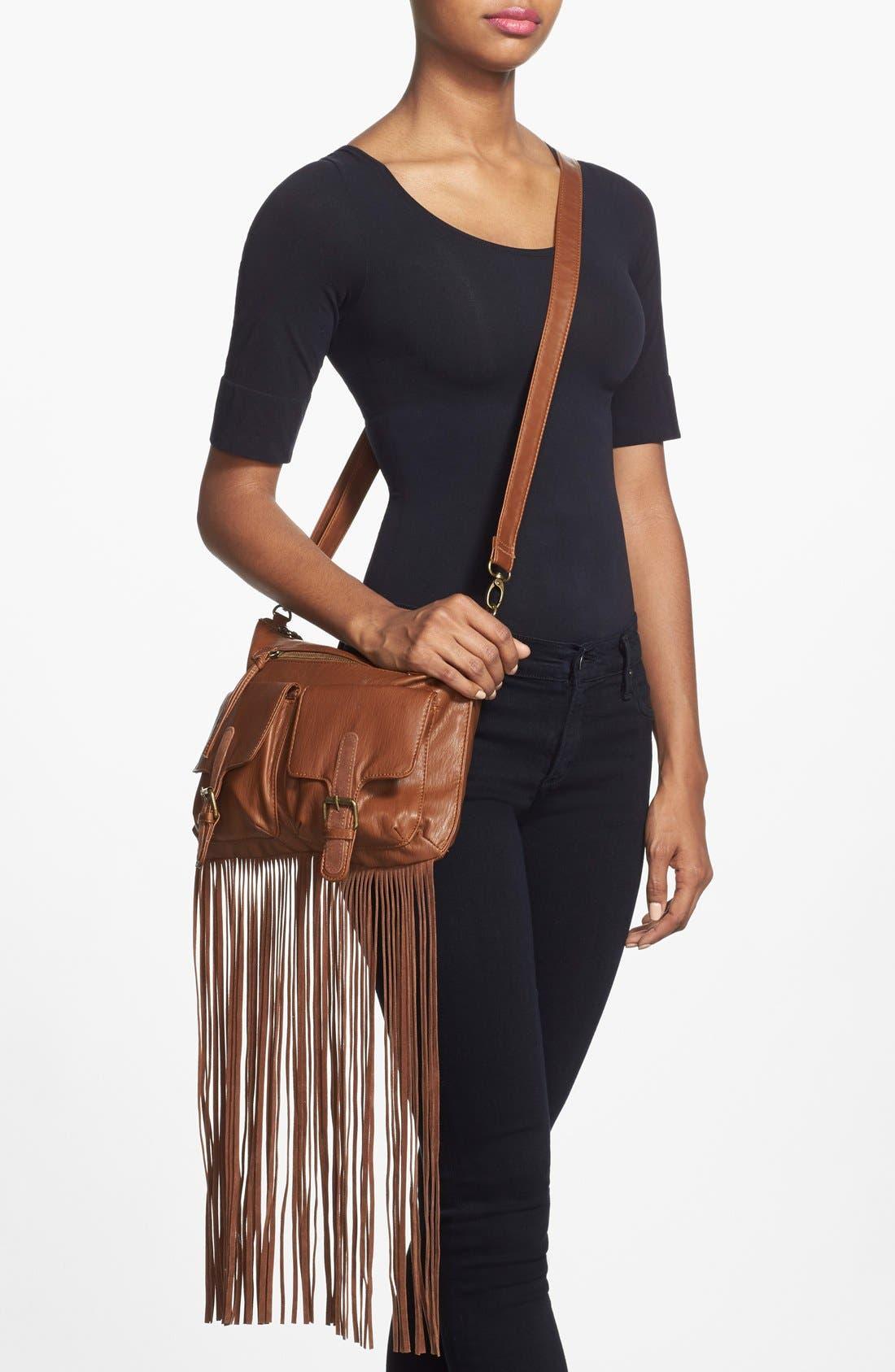 Alternate Image 2  - T-Shirt & Jeans Fringe Trim Crossbody Bag