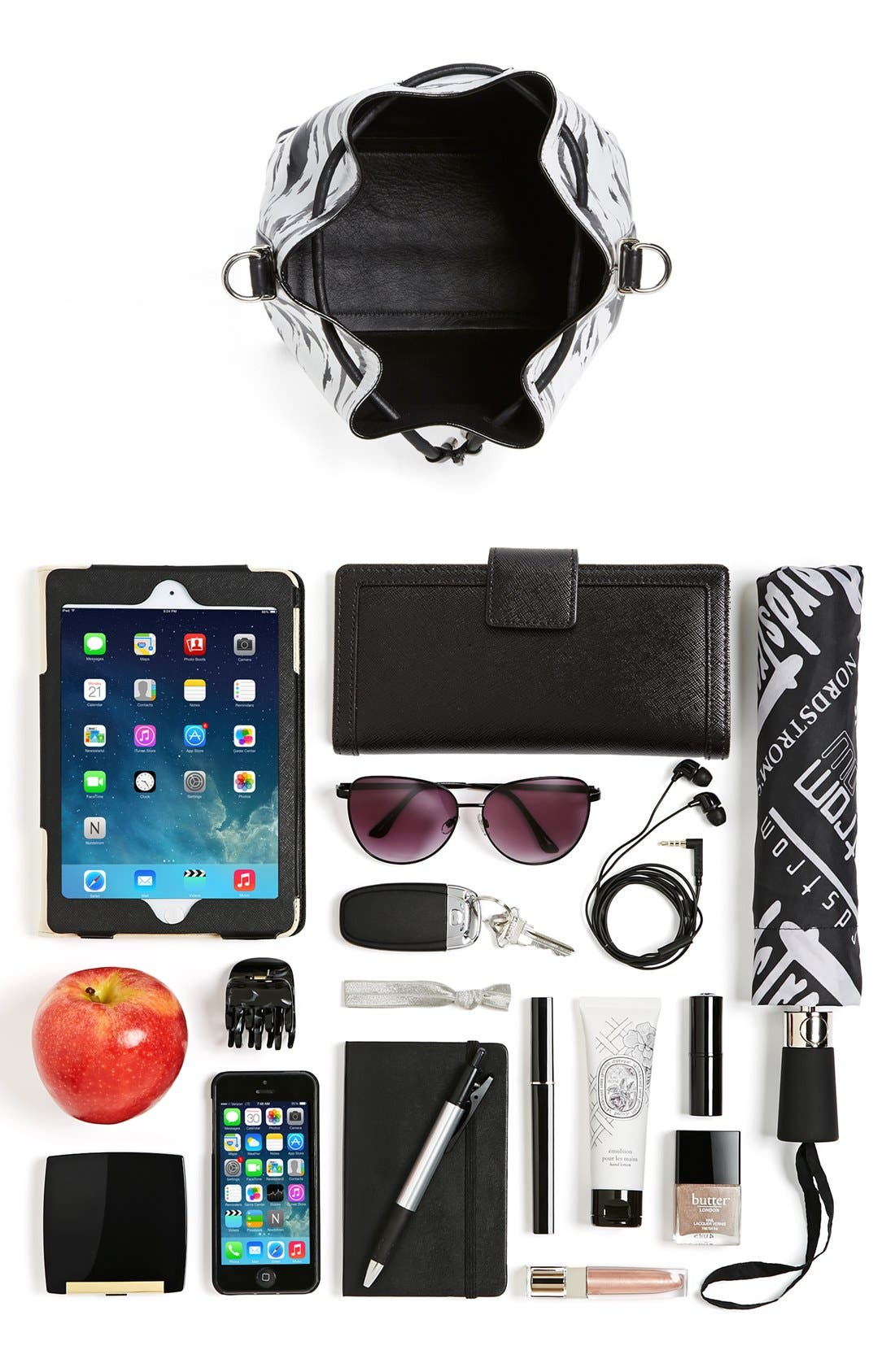 Alternate Image 4  - Proenza Schouler 'Medium' Feather Print Leather Bucket Bag