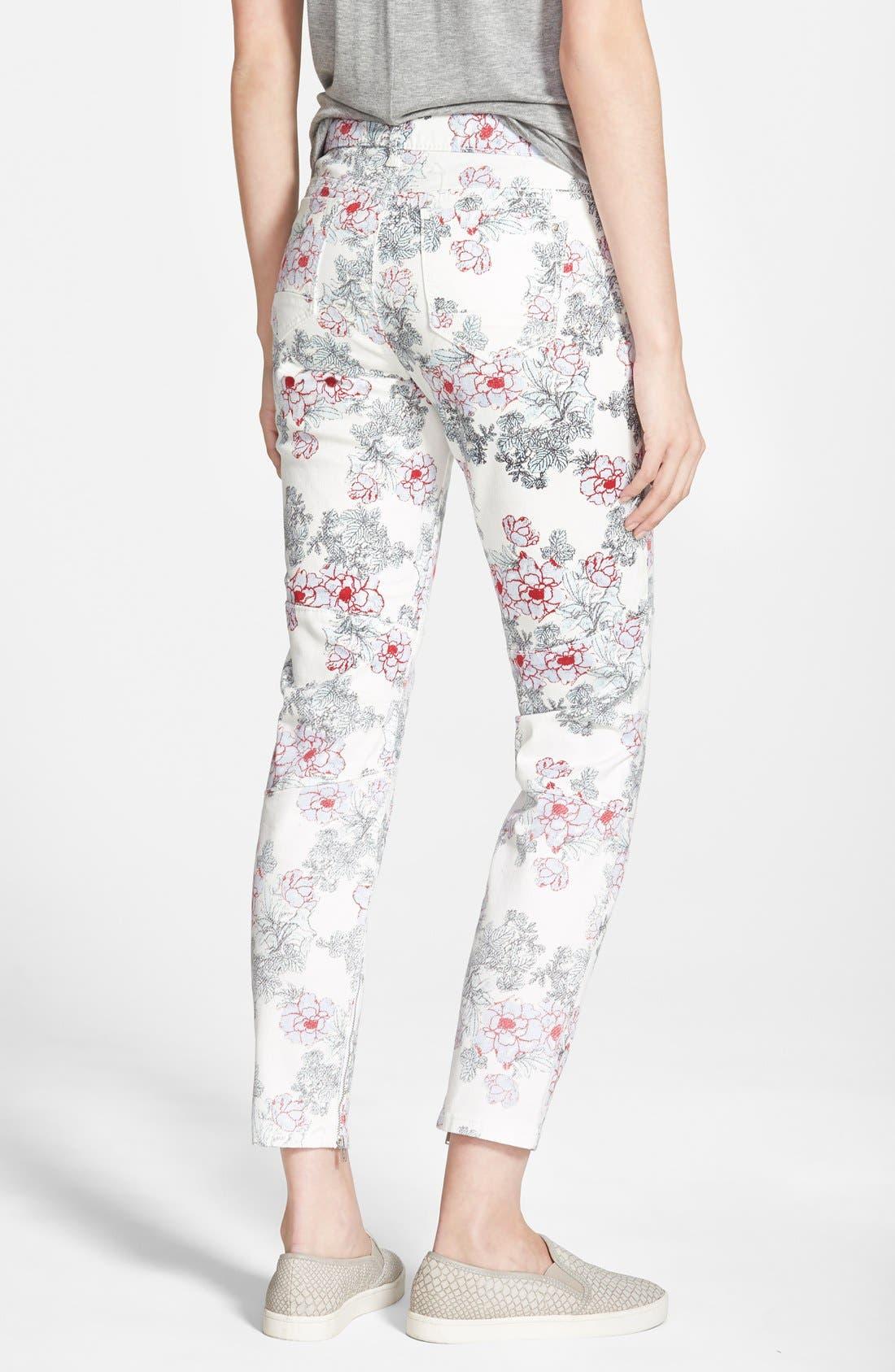 Alternate Image 2  - Standards & Practices Floral Print Skinny Jeans (White)