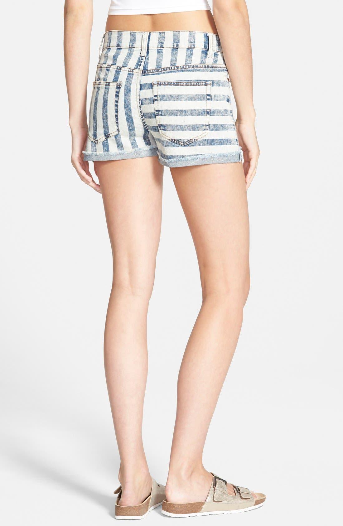 Alternate Image 2  - Fire Stripe High Waist Cuffed Shorts (Acid)