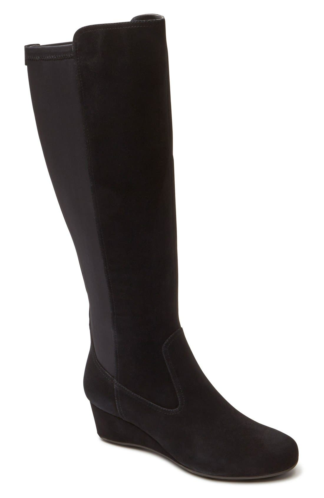 rockport total motion knee high wedge boot wide