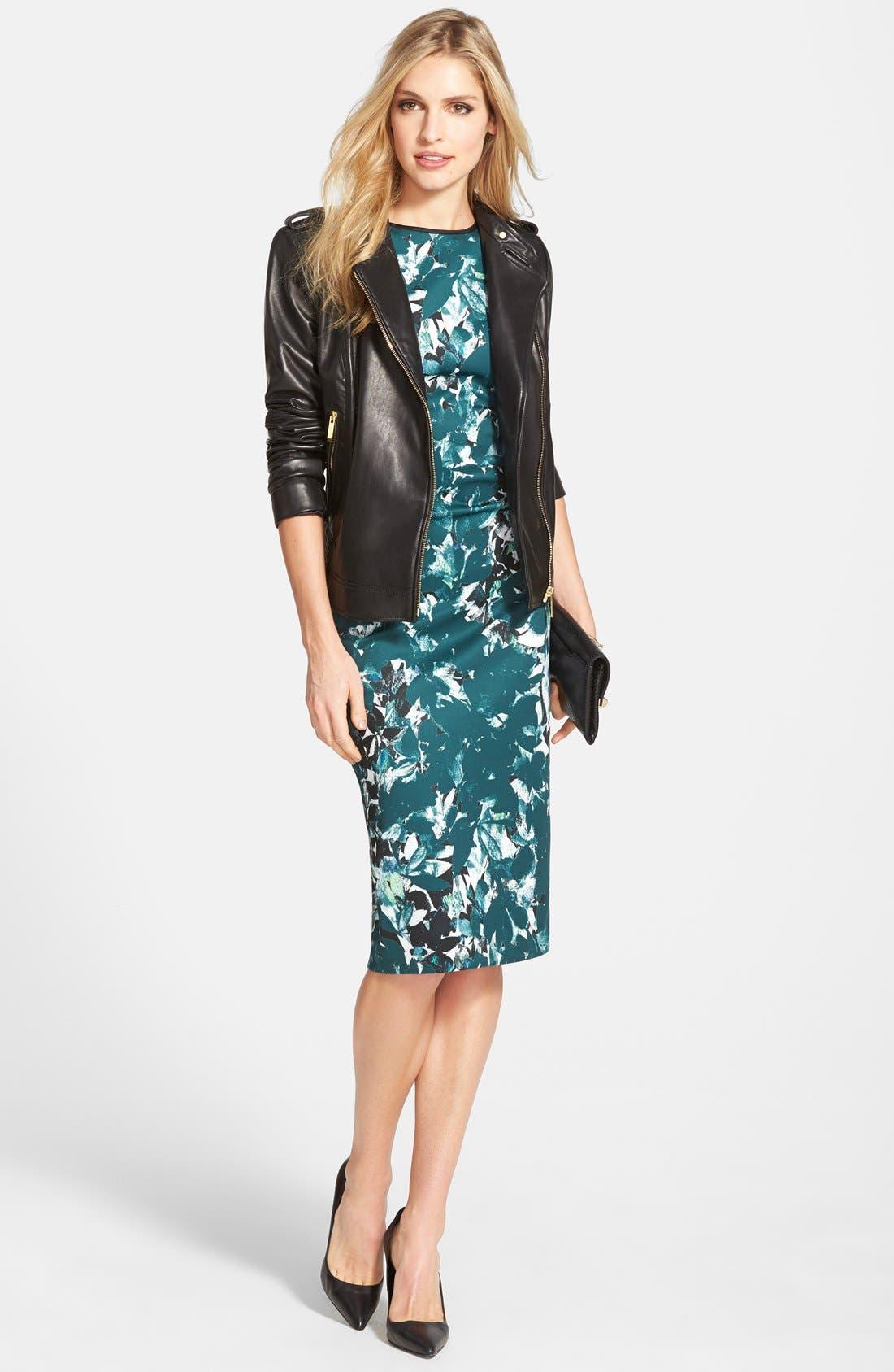 Alternate Image 2  - Maggy London 'Shadow Branch' Print Scuba Midi Dress (Regular & Petite)