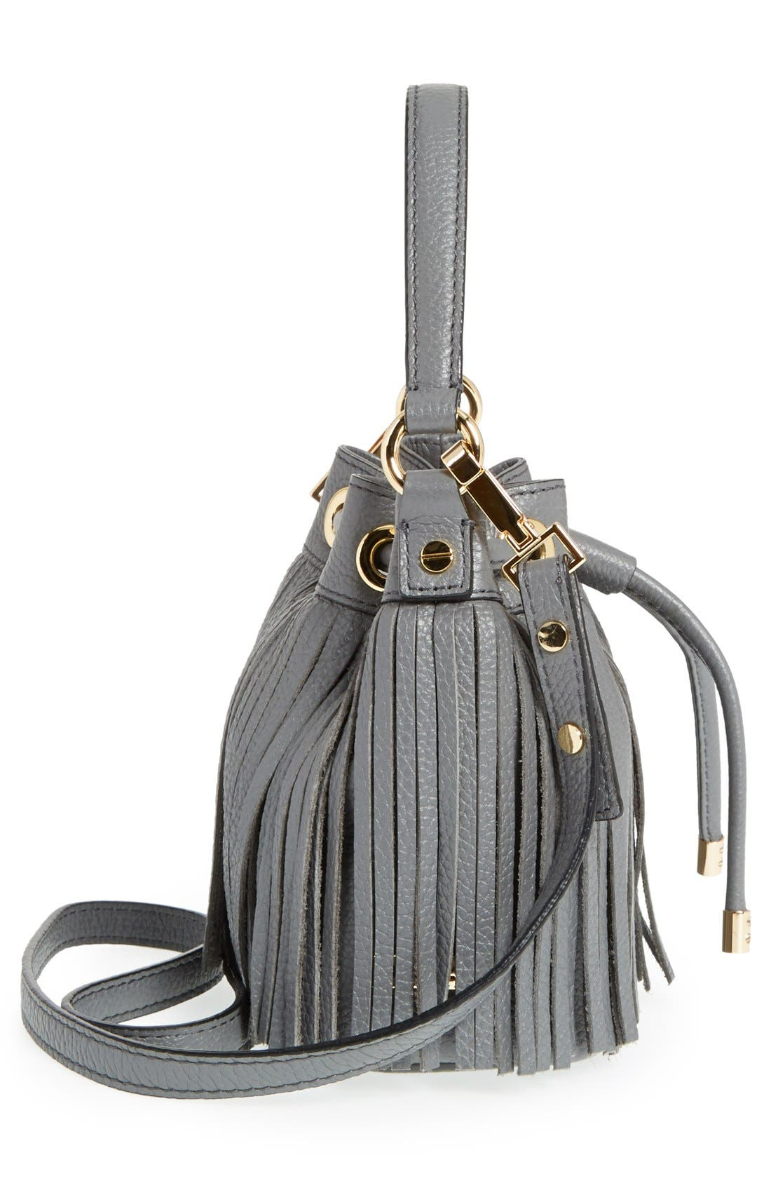 Alternate Image 5  - Milly 'Small Essex' Fringed Leather Drawstring Bag