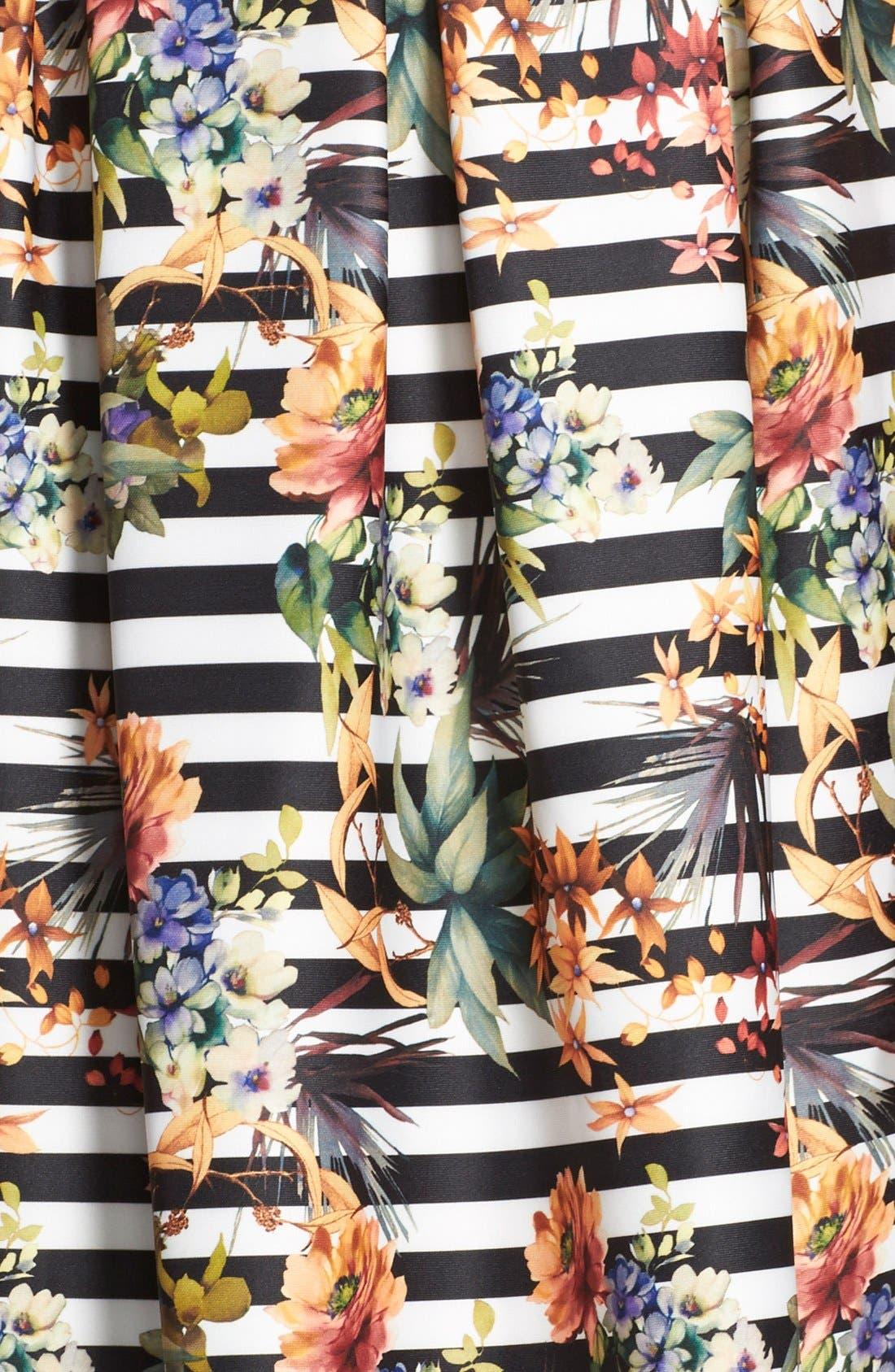 Alternate Image 3  - Chetta B Floral Stripe Fit & Flare Dress