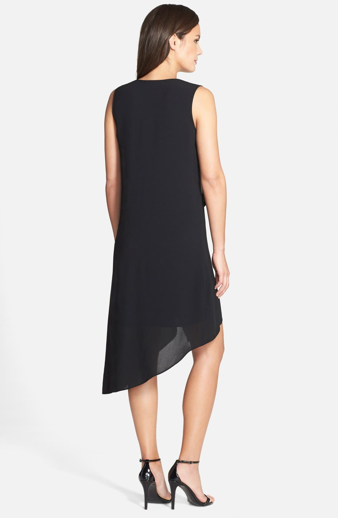 Alternate Image 2  - Adrianna Papell Ruffle Front Crepe High/Low Dress