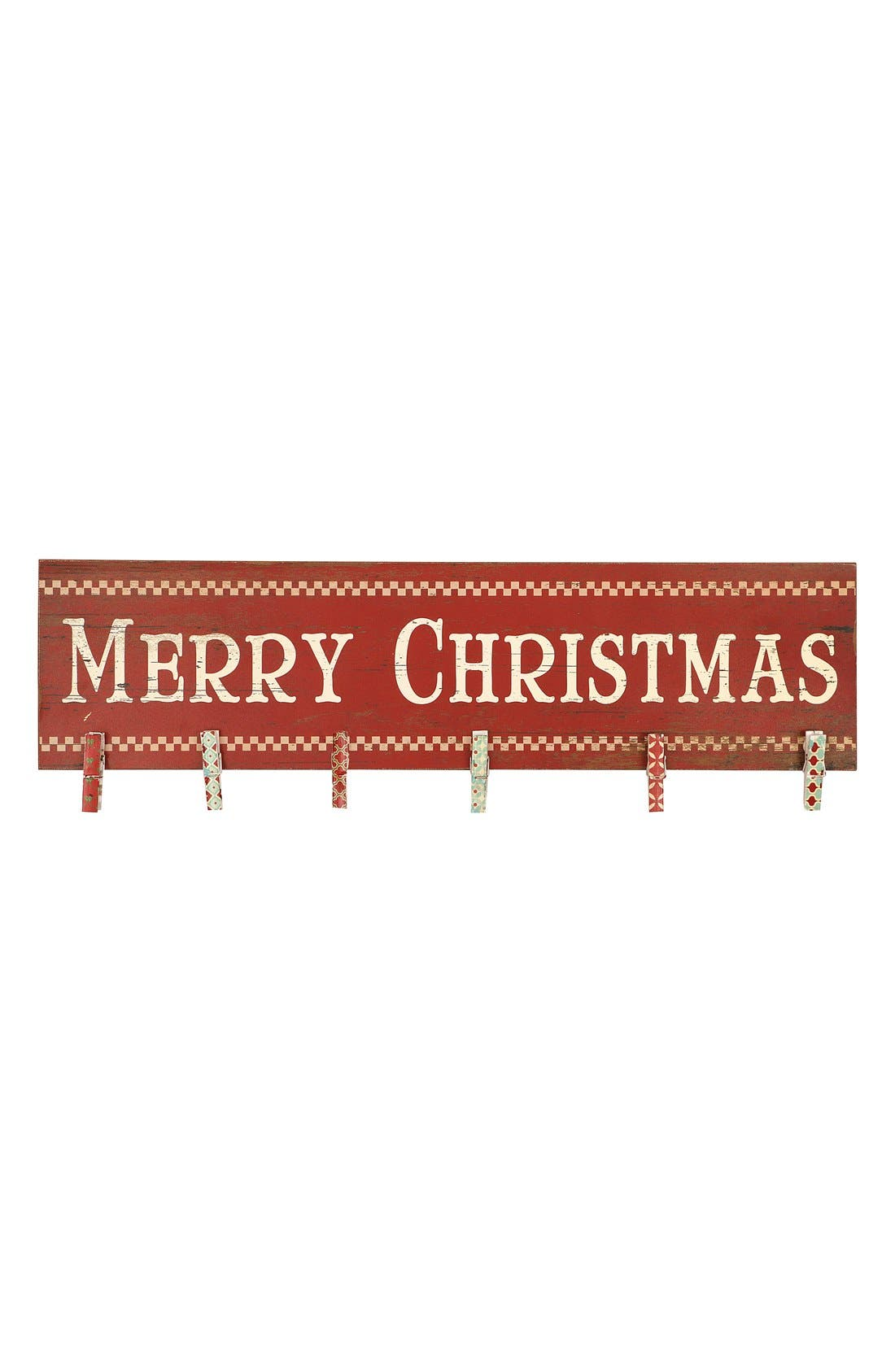 Alternate Image 1 Selected - Creative Co-Op 'Merry Christmas' Wood Card Holder