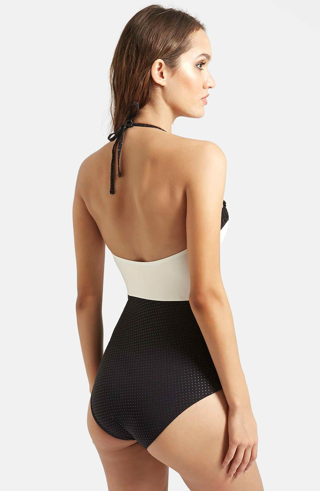 Alternate Image 2  - Topshop 'Florie' Ruched One-Piece Swimsuit