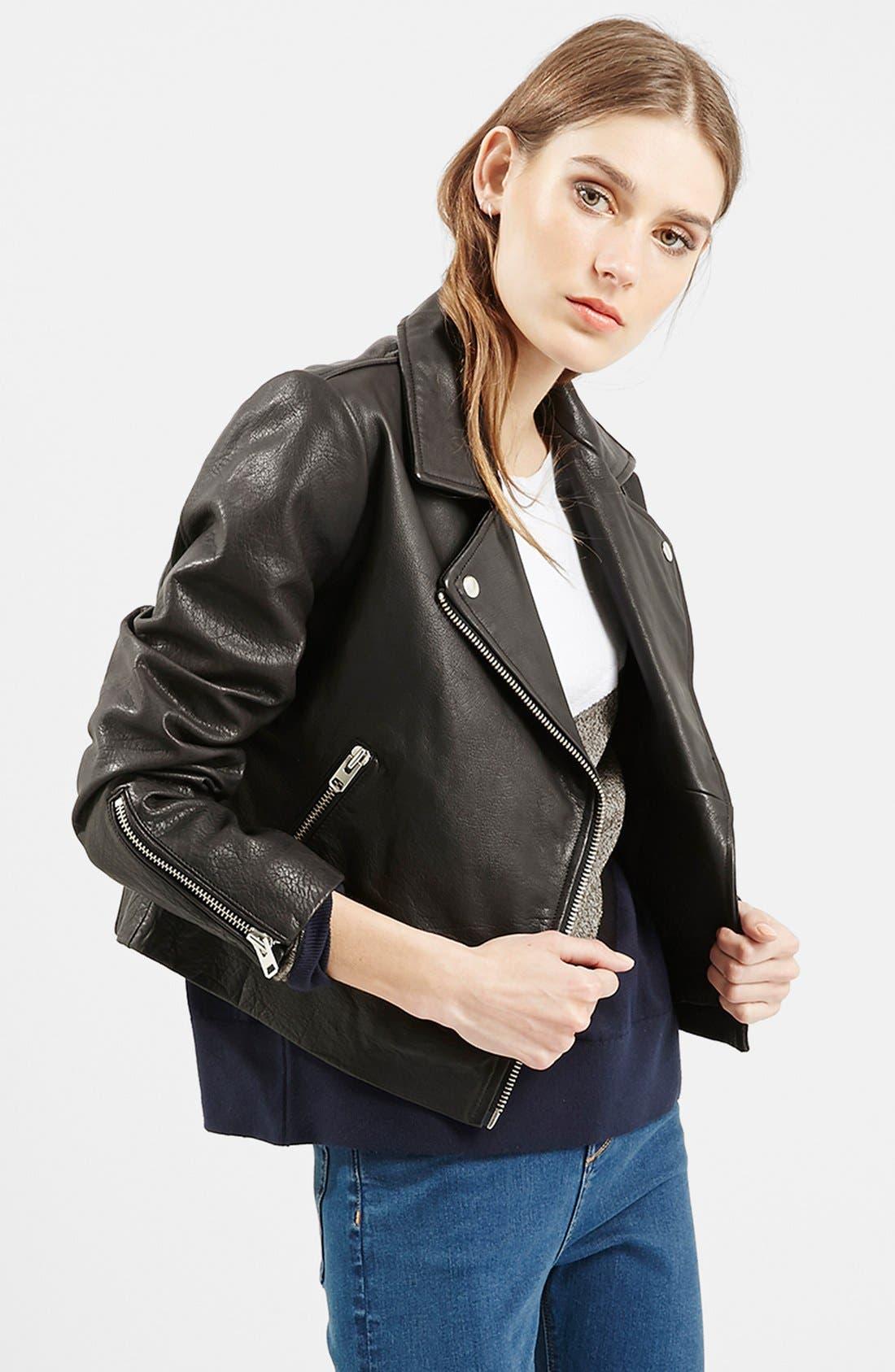 Alternate Image 6  - Topshop Leather Biker Jacket