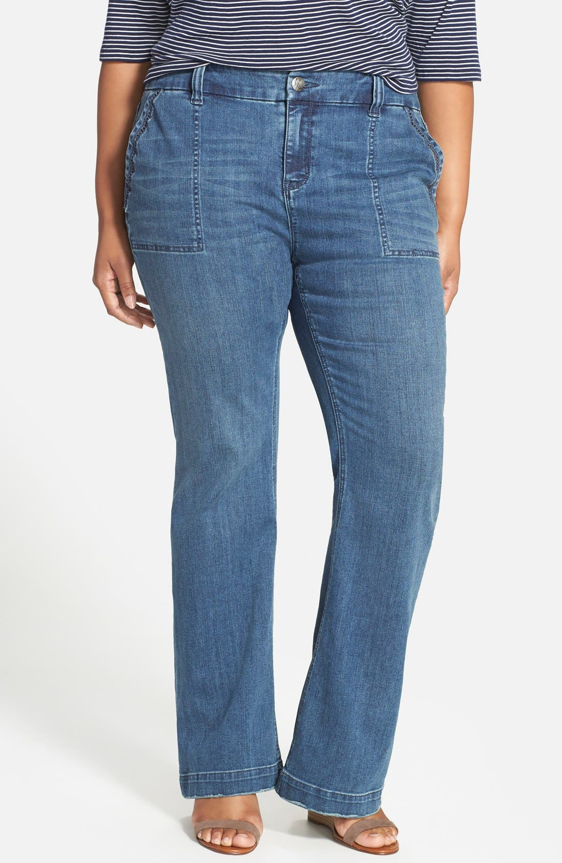 Alternate Image 1 Selected - Melissa McCarthy Seven7 Stretch Flare Leg Jeans (Deluxe Blue) (Plus Size)