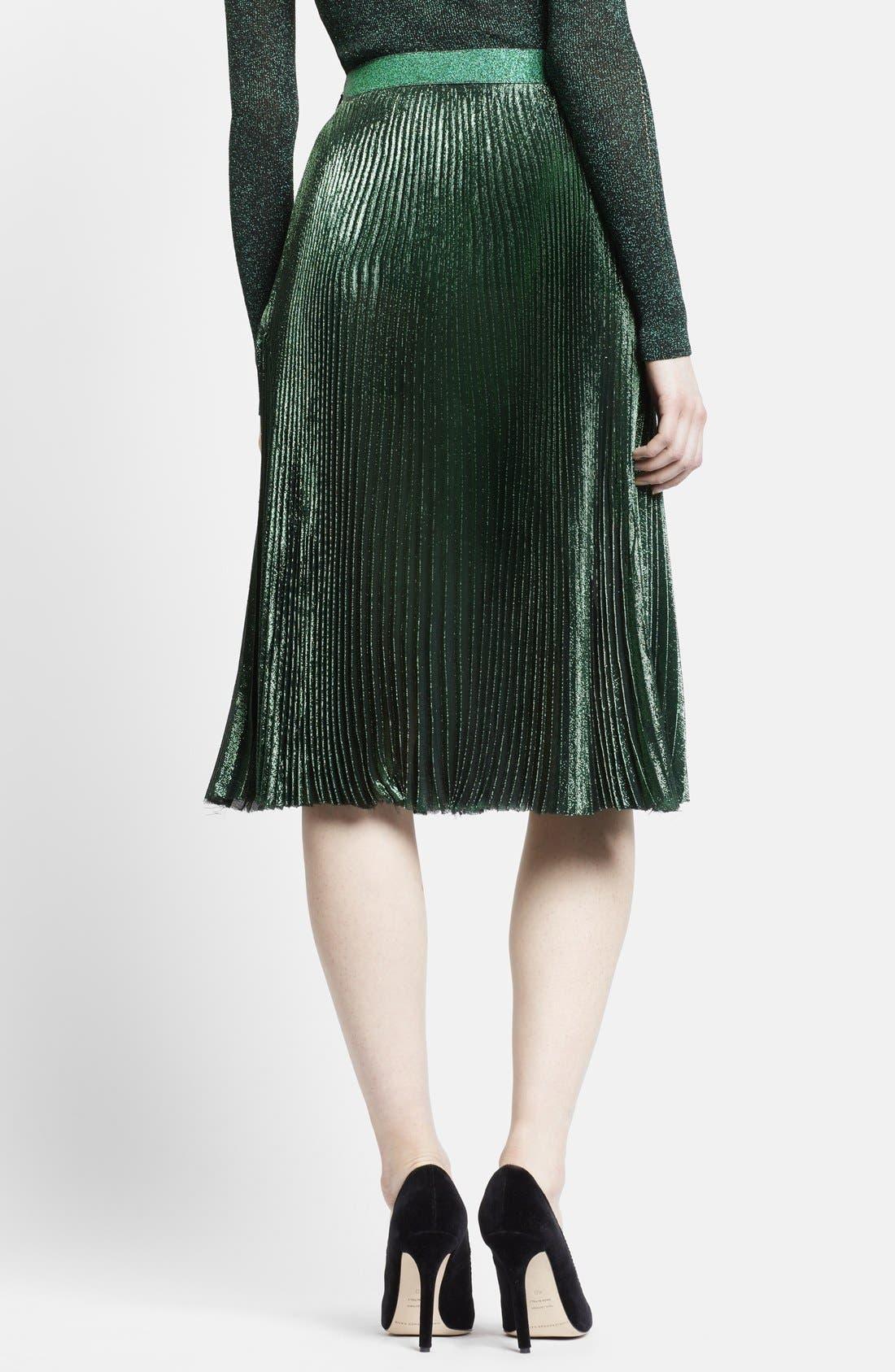 Alternate Image 2  - Christopher Kane Lamé Pleated Midi Skirt