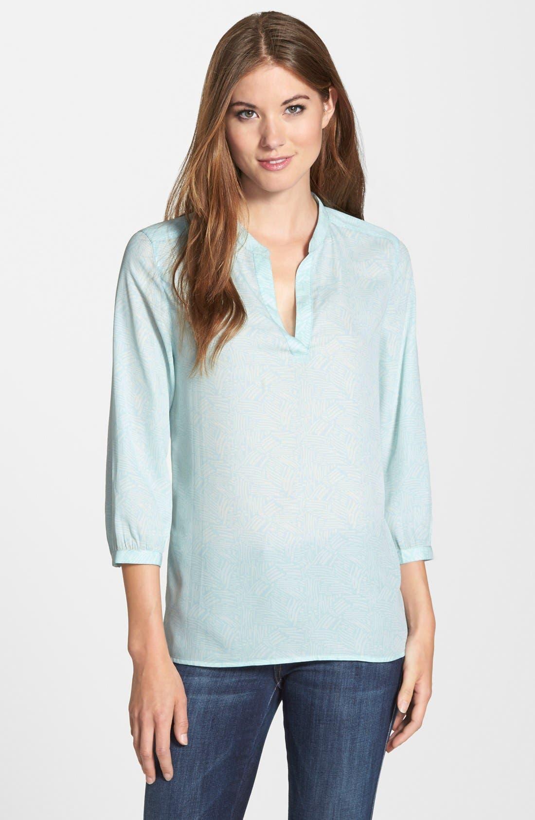 Main Image - Caslon® Split Neck Blouse (Regular & Petite)