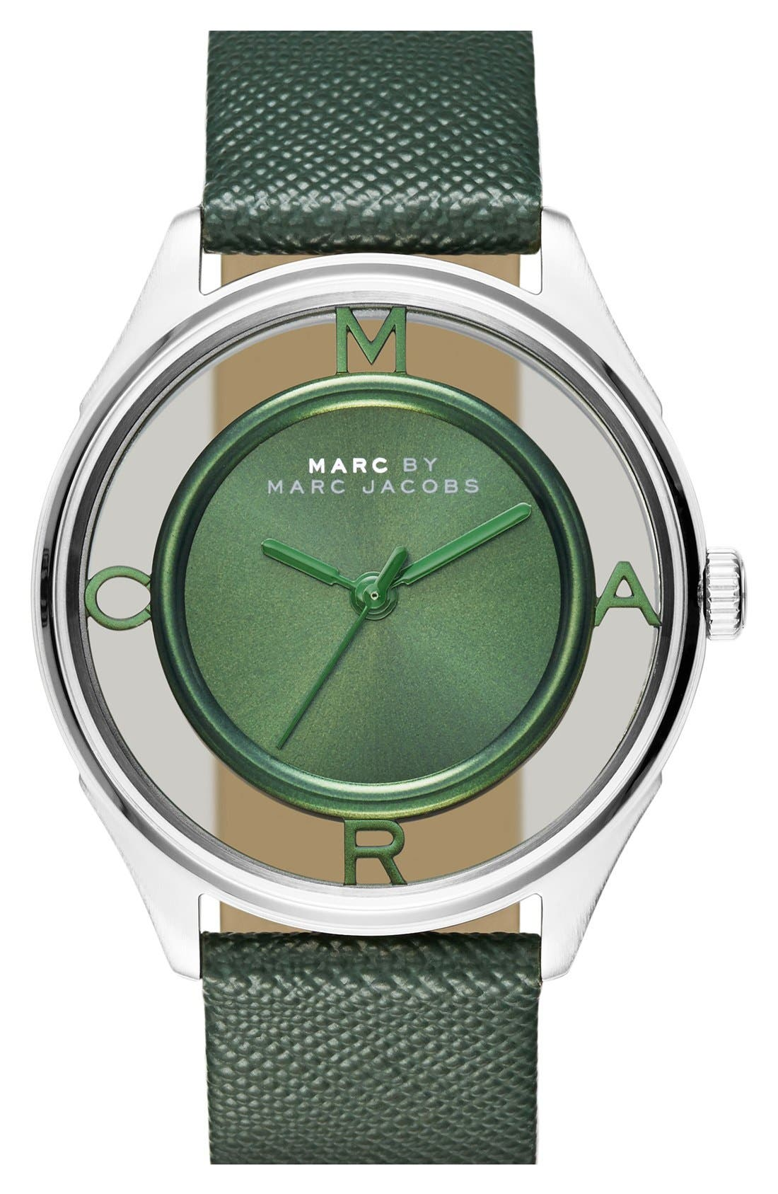 Main Image - MARC JACOBS 'Tether' Skeleton Leather Strap Watch, 36mm