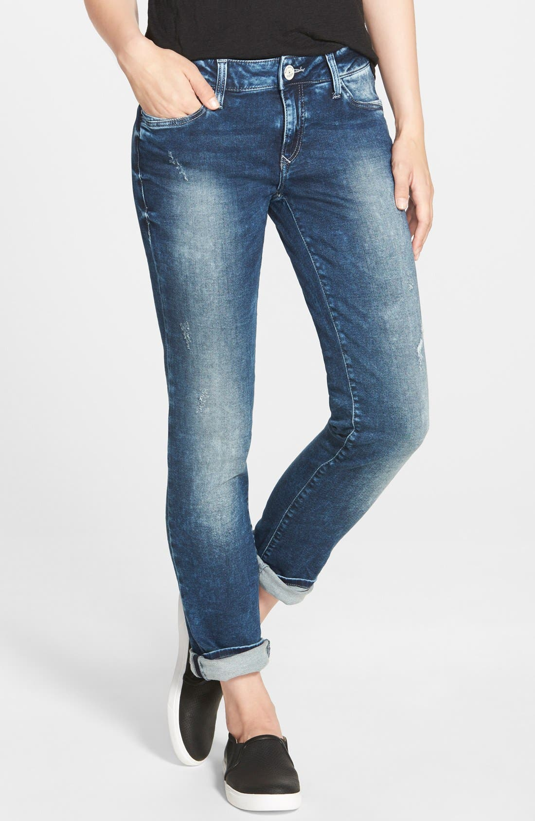 Alternate Image 1 Selected - Mavi Jeans 'Emma' Distressed Boyfriend Slim Jeans (Mid Sporty)