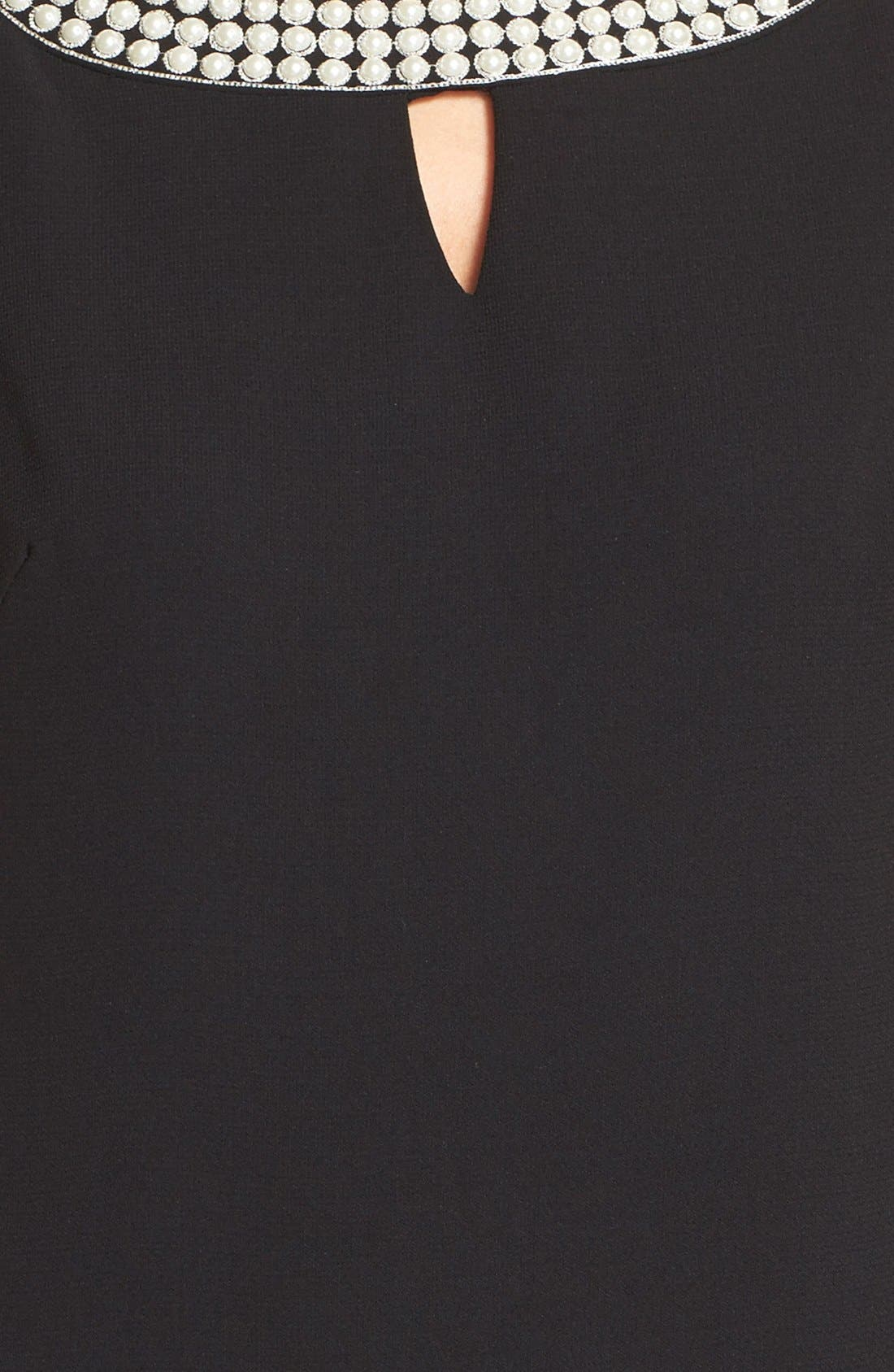 Alternate Image 4  - Tahari Embellished Neck Crepe Shift Dress (Regular & Petite)