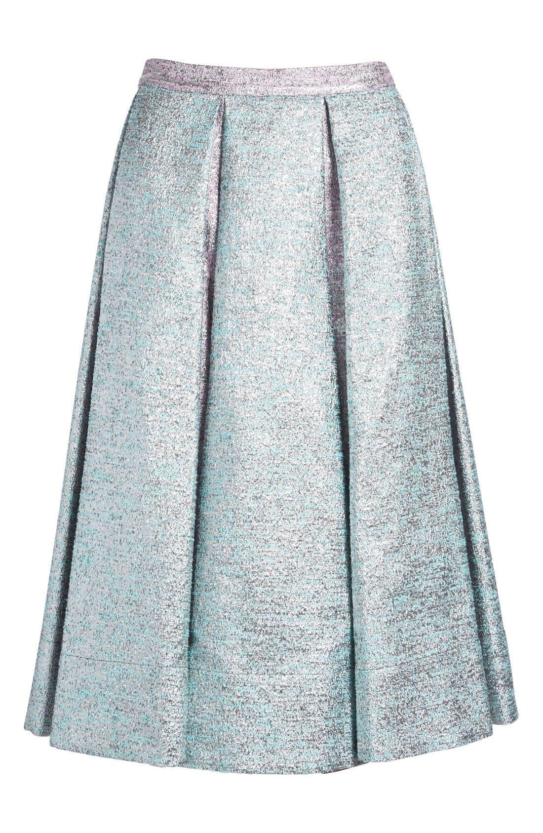 Alternate Image 4  - PASKAL Metallic Inverted Pleat Flared Skirt