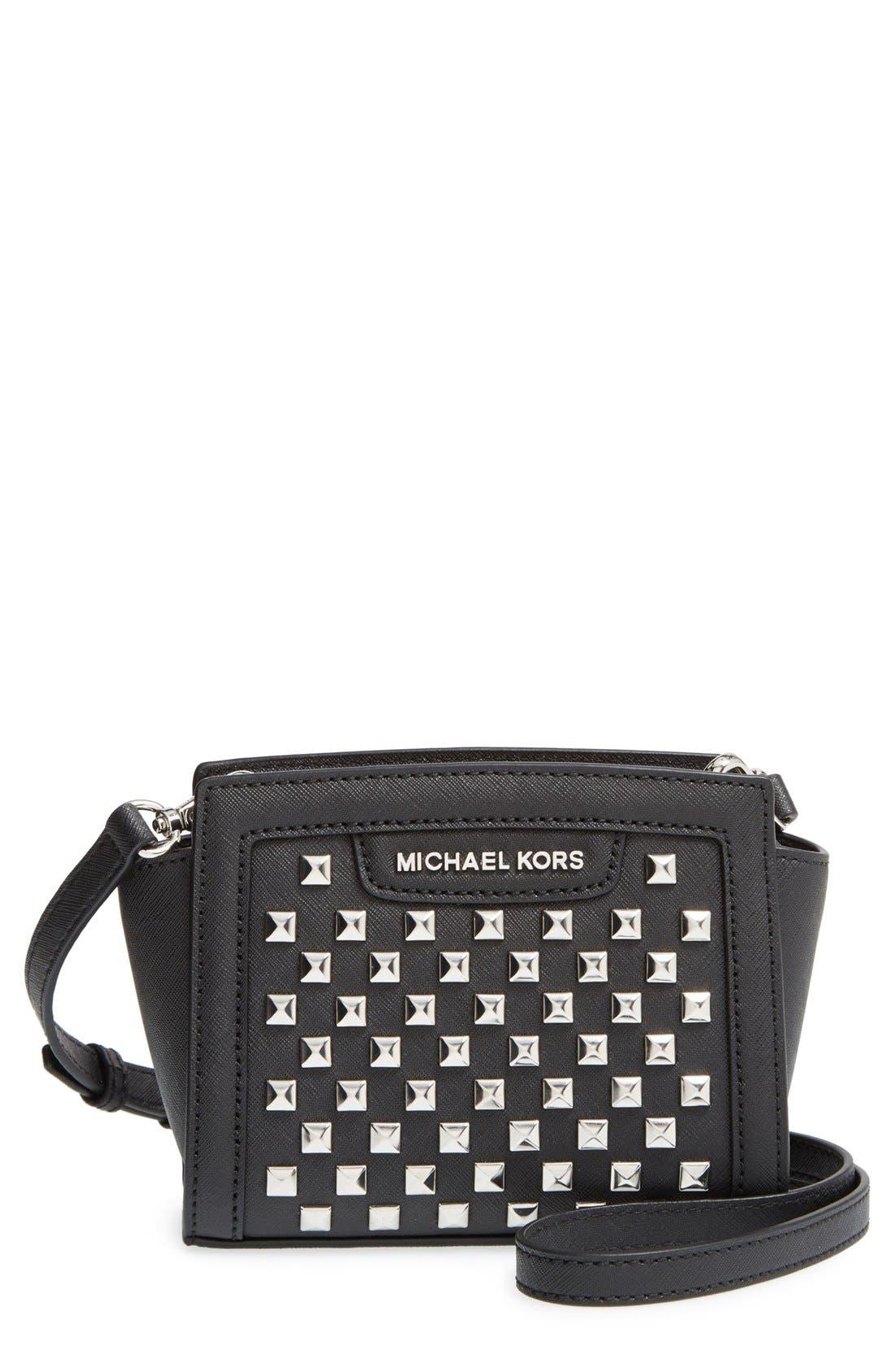 Alternate Image 1 Selected - MICHAEL Michael Kors 'Mini Selma' Studded Saffiano Leather Crossbody Bag