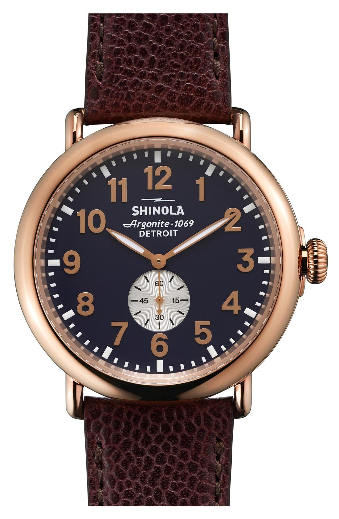 Shinola 'Runwell' Leather Strap Watch, 47mm