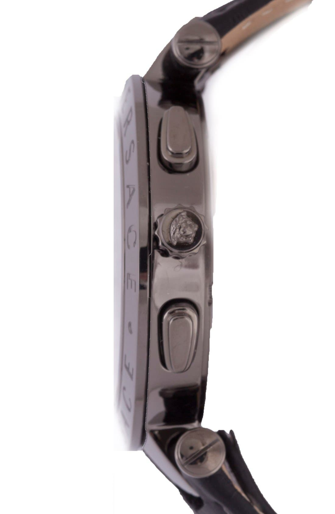 Alternate Image 3  - Versace 'V-Race GMT' Round Leather Strap Watch, 46mm