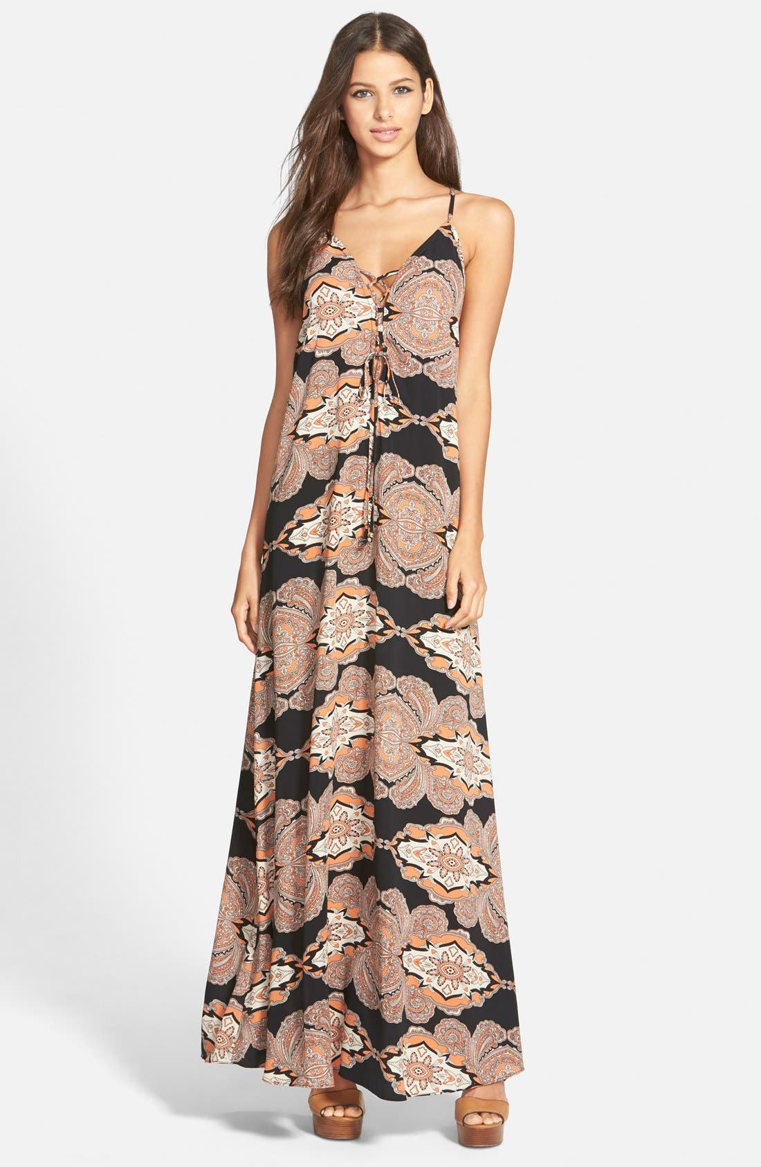 Alternate Image 1 Selected - Leith Lace Up Maxi Dress