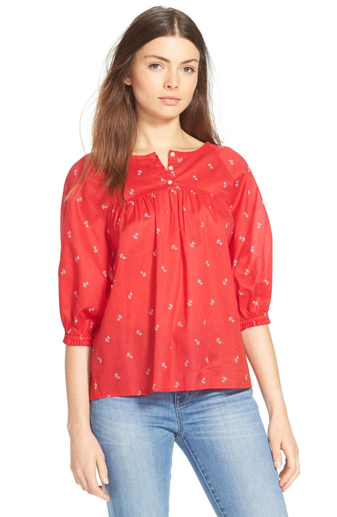Main Image - Madewell 'Bouquet Scatter' Shirred Peasant Top
